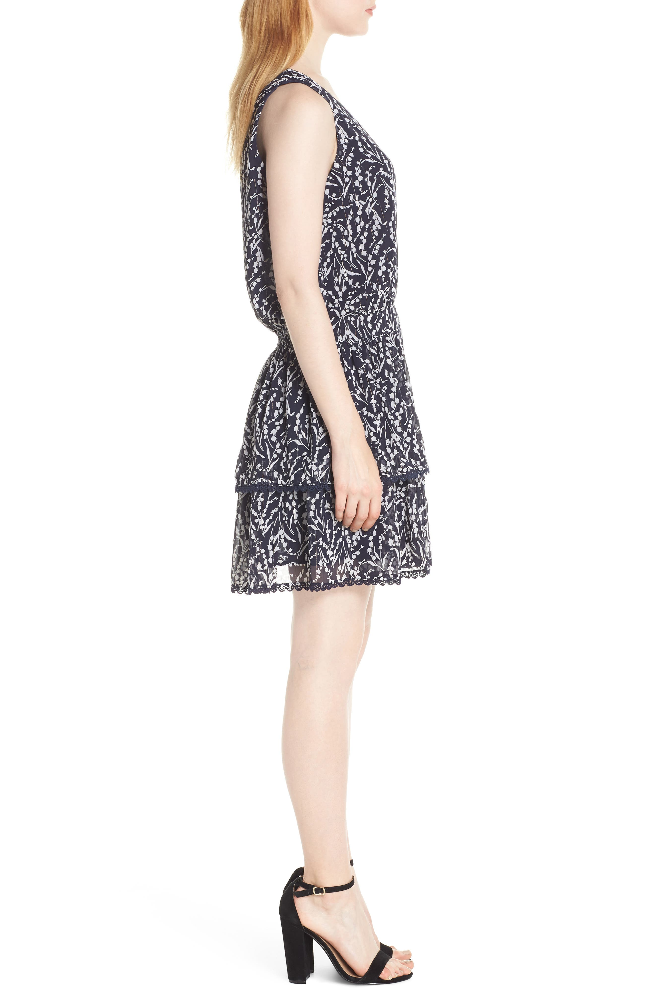 19 COOPER, Tiered Floral Sleeveless Dress, Alternate thumbnail 4, color, NAVY/ WHITE
