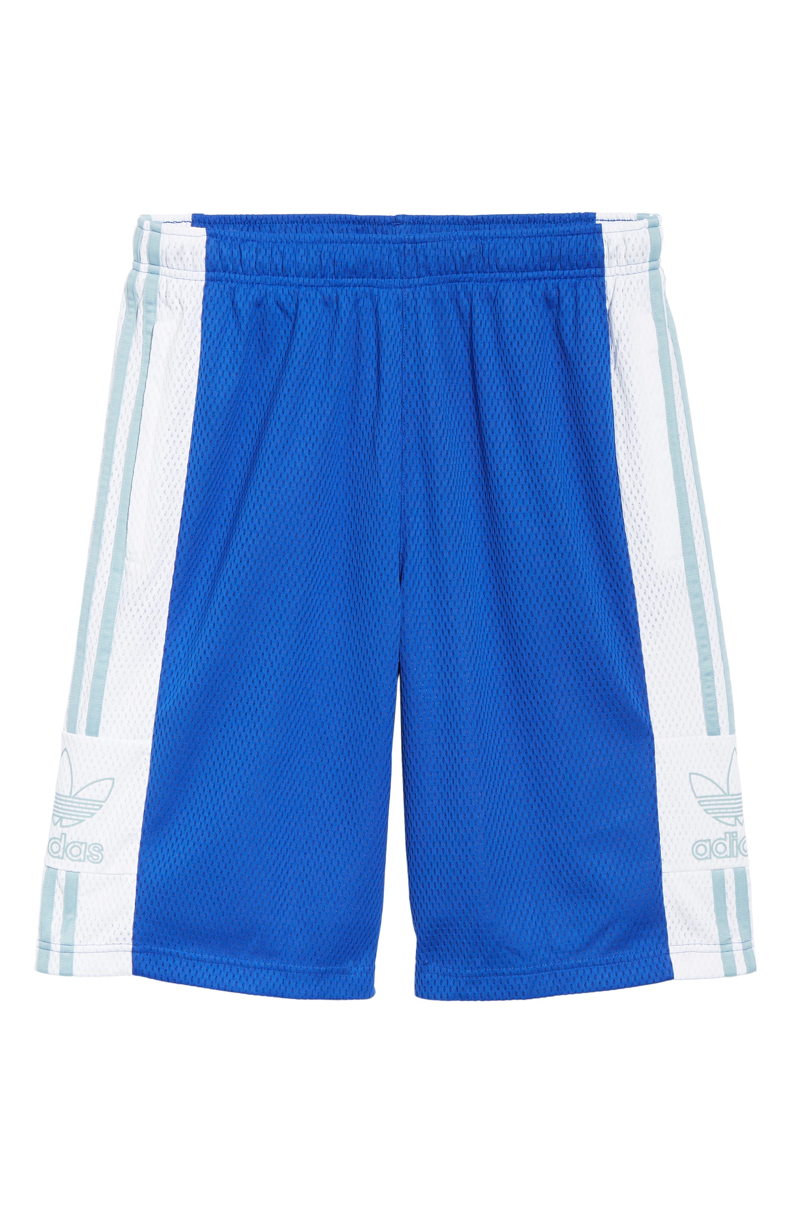 ADIDAS ORIGINALS, Mesh Athletic Shorts, Alternate thumbnail 6, color, BOLD BLUE/ WHITE
