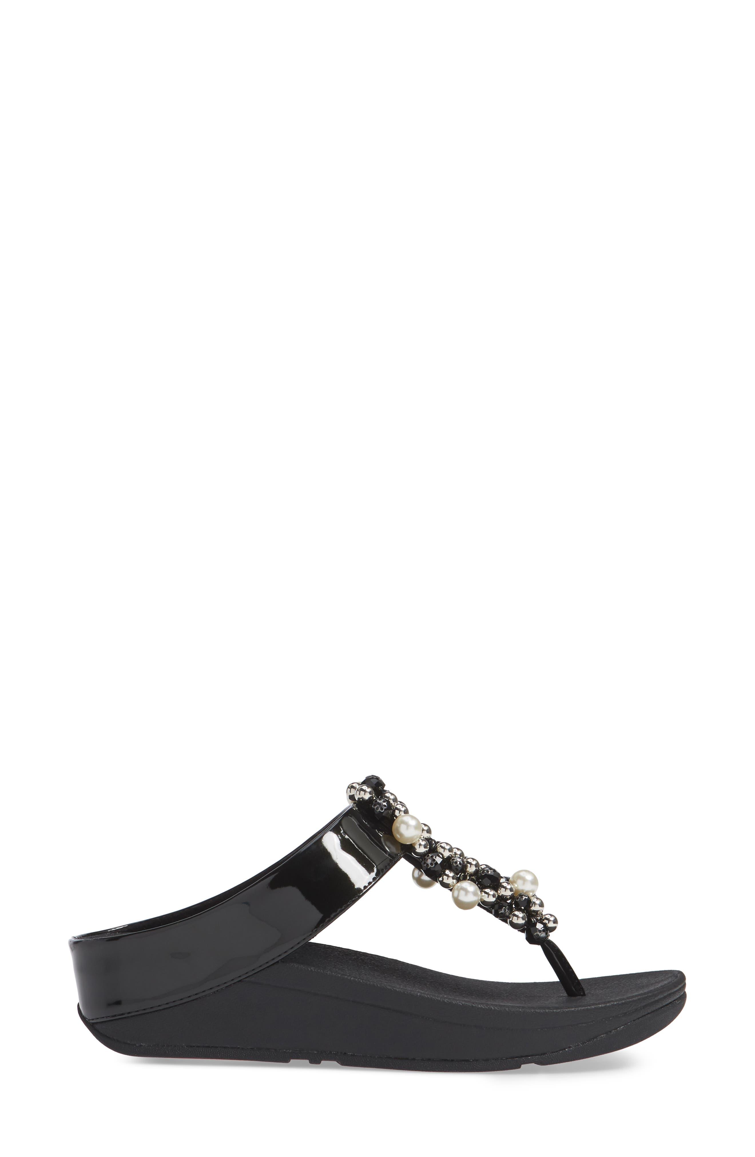 FITFLOP, Deco Embellished Flip Flop, Alternate thumbnail 3, color, BLACK FABRIC