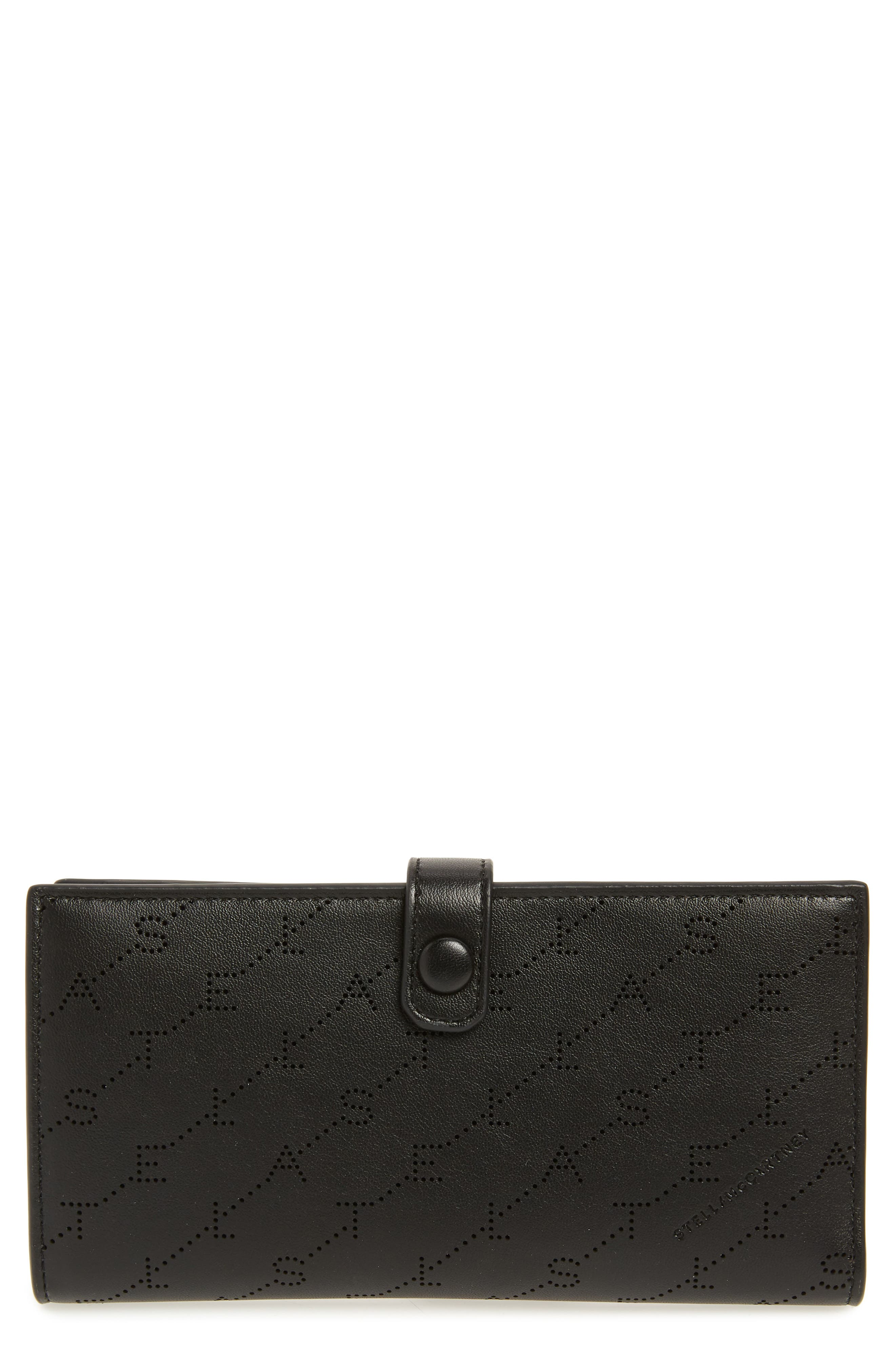 STELLA MCCARTNEY, Logo Perforated Faux Leather Continental Wallet, Main thumbnail 1, color, BLACK