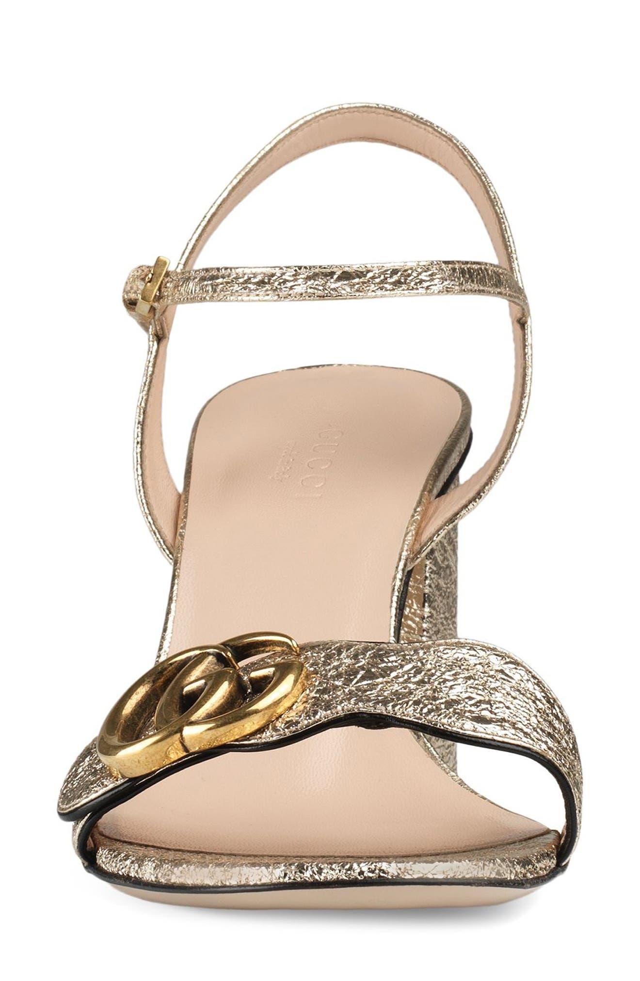 GUCCI, GG Marmont Sandal, Alternate thumbnail 4, color, METALLIC GOLD