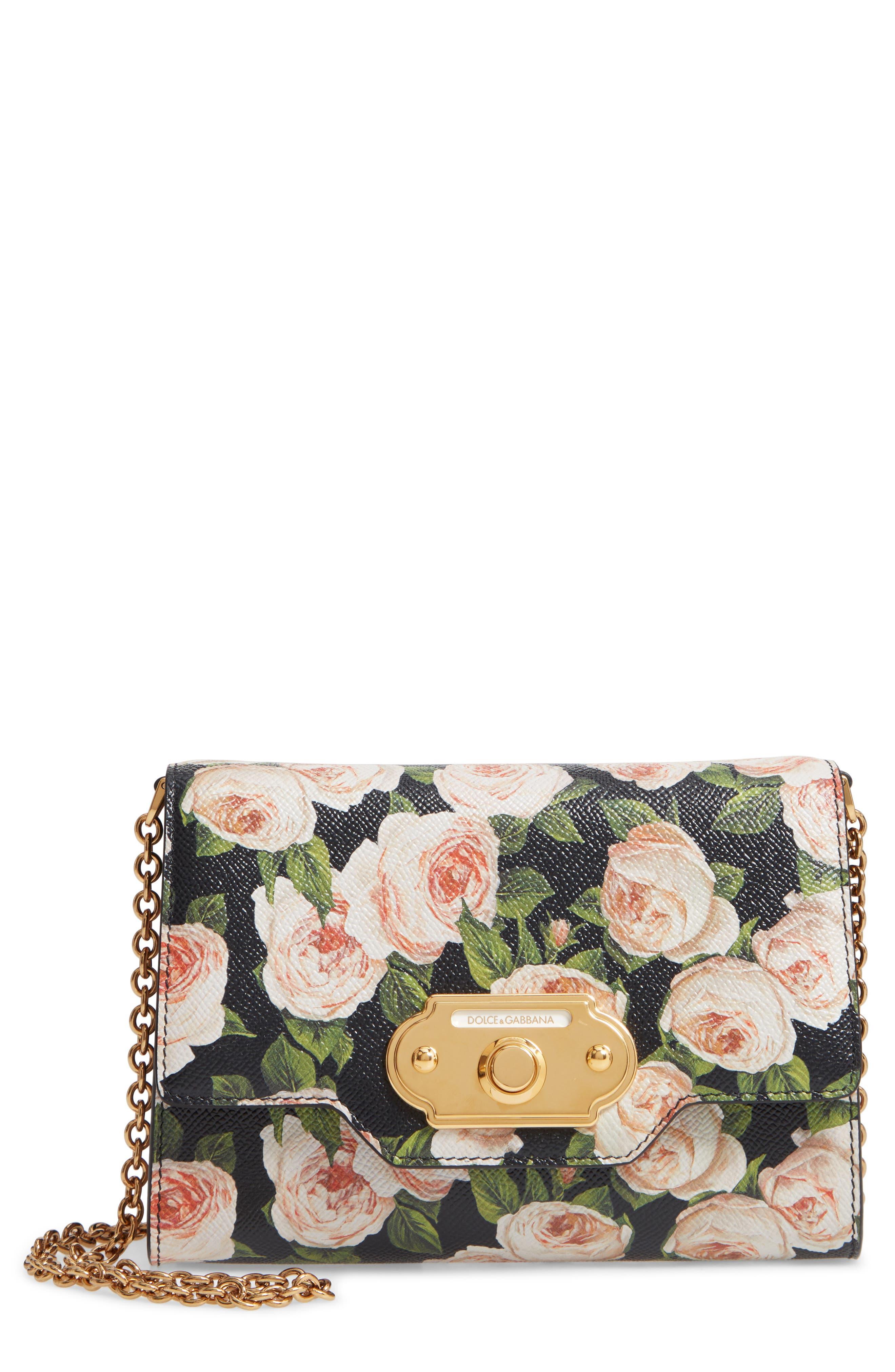 DOLCE&GABBANA Rose Print Calfskin Leather Shoulder Bag, Main, color, NERO/ ROSE