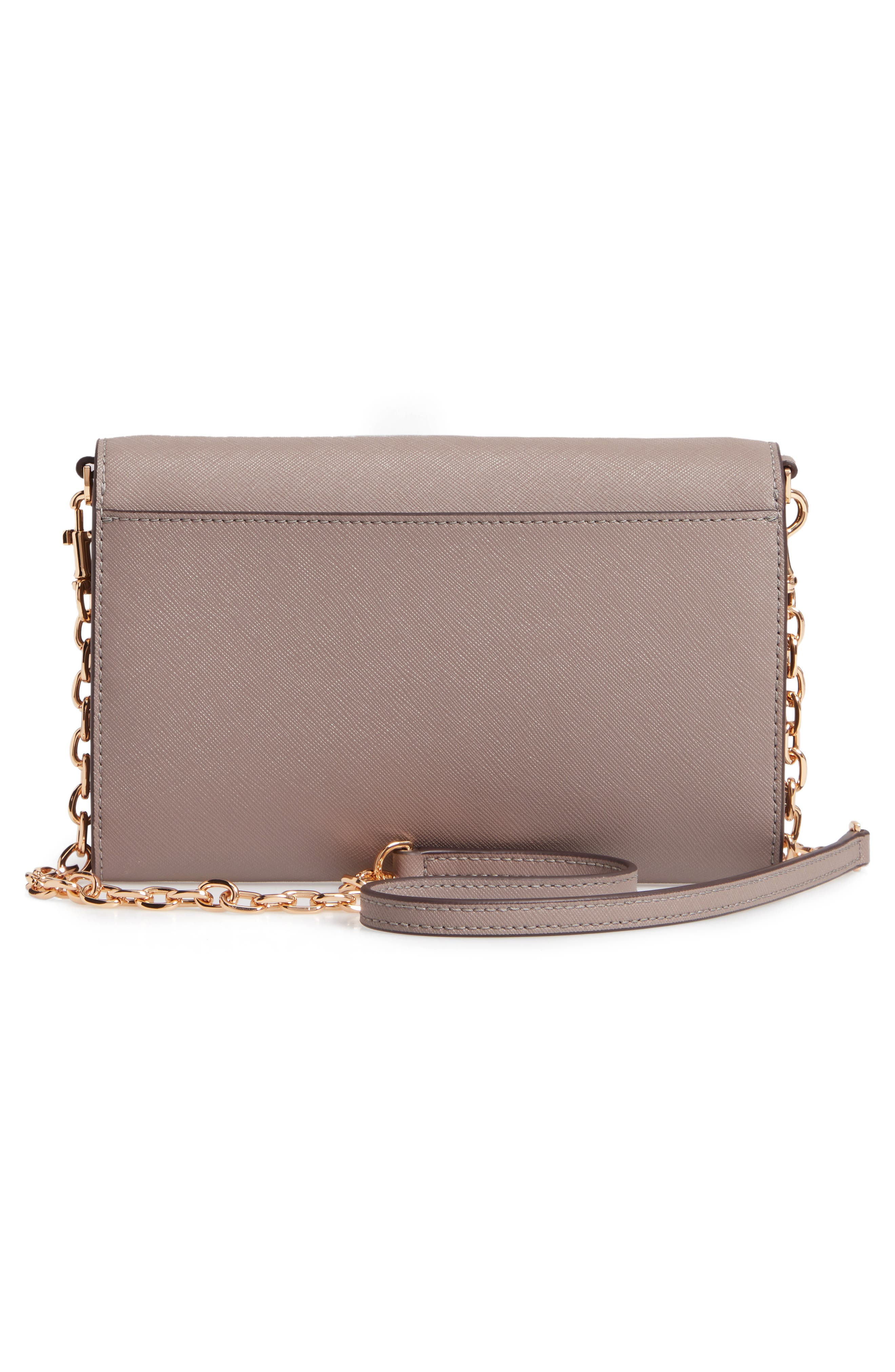 TORY BURCH, Robinson Leather Wallet on a Chain, Alternate thumbnail 3, color, GRAY HERON