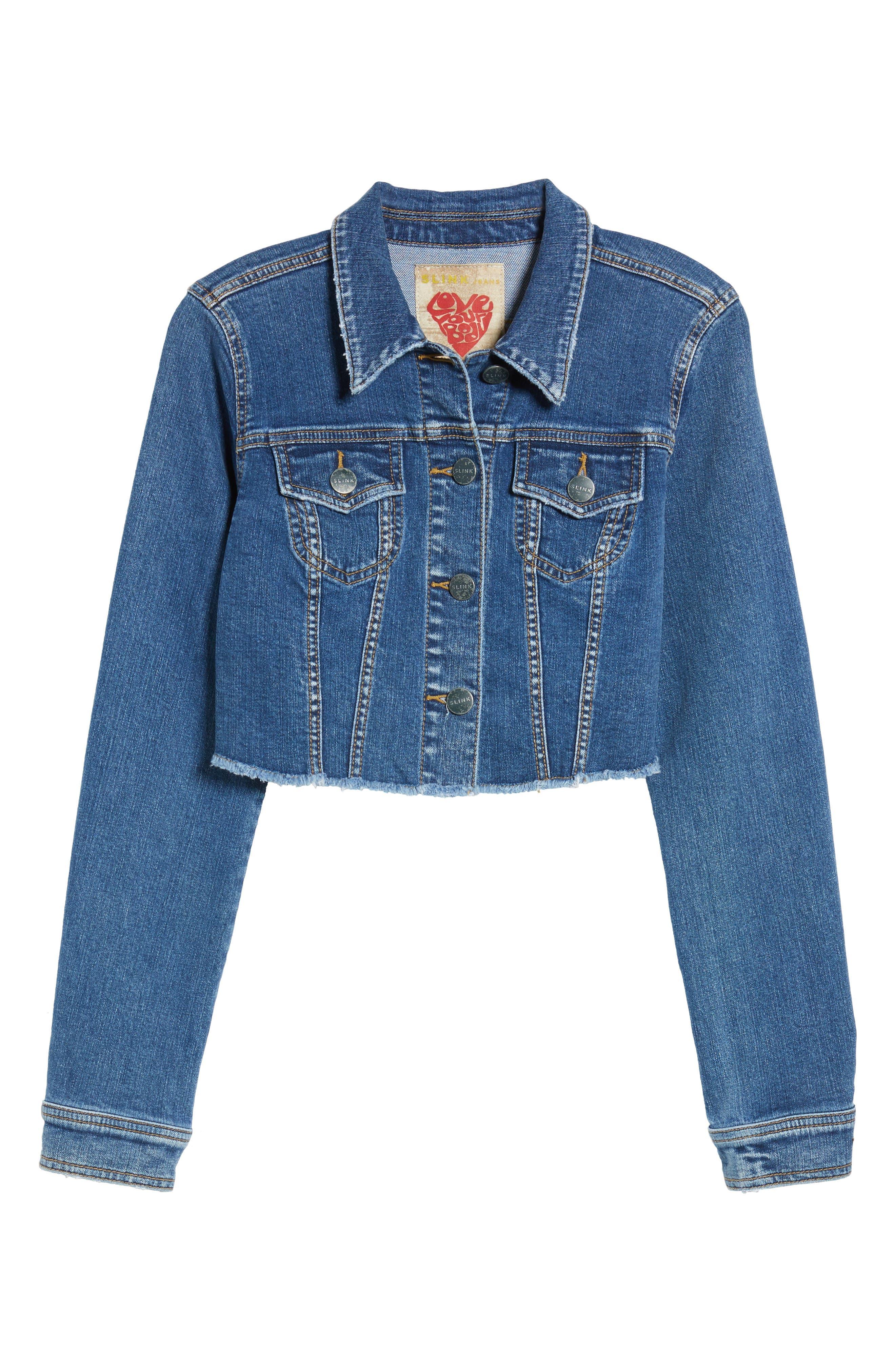 SLINK JEANS, Fray Crop Jacket, Alternate thumbnail 5, color, 495
