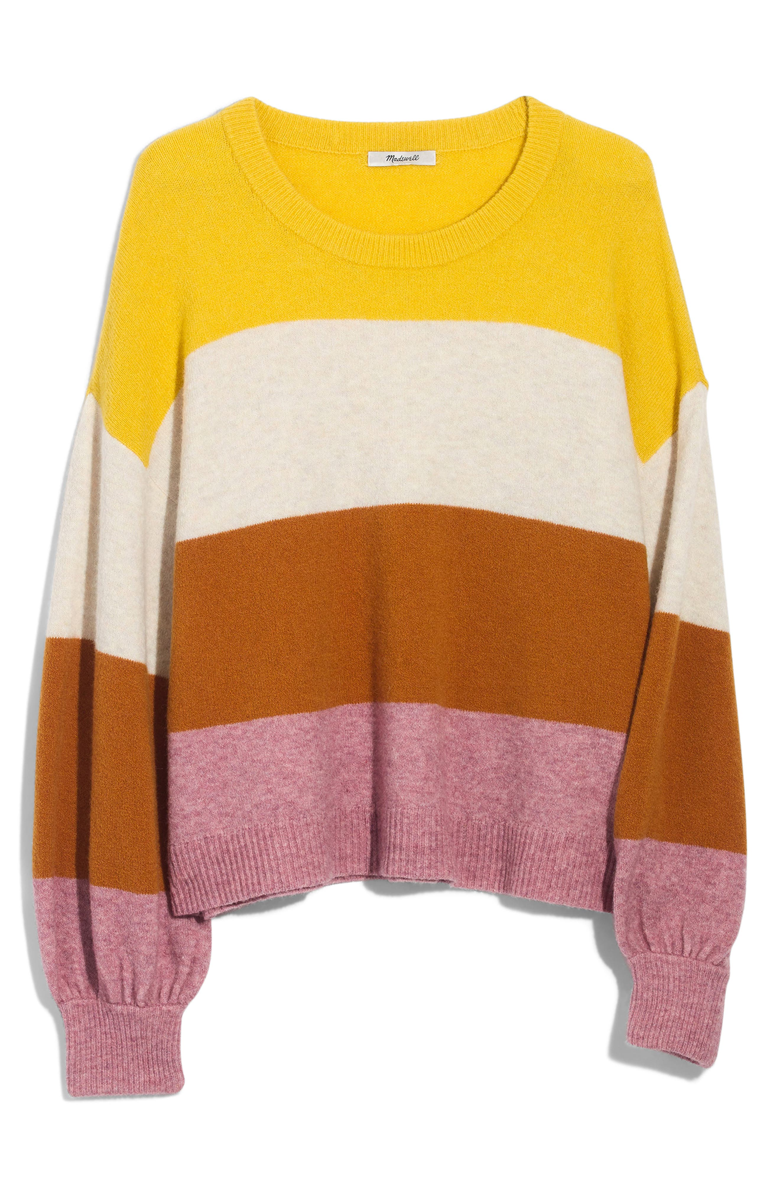 MADEWELL, Striped Balloon-Sleeve Pullover Sweater, Alternate thumbnail 3, color, HEATHER MULBERRY