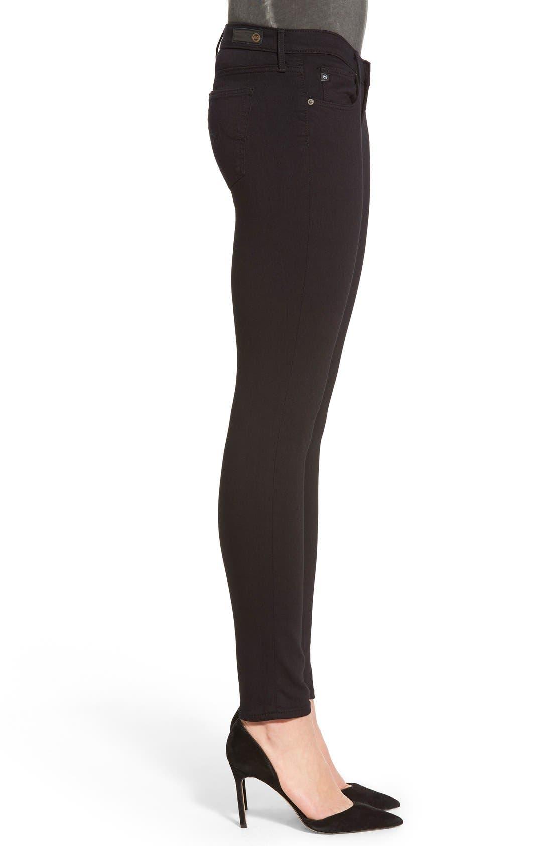 AG, 'The Legging' Ankle Super Skinny Jeans, Alternate thumbnail 4, color, SUPER BLACK