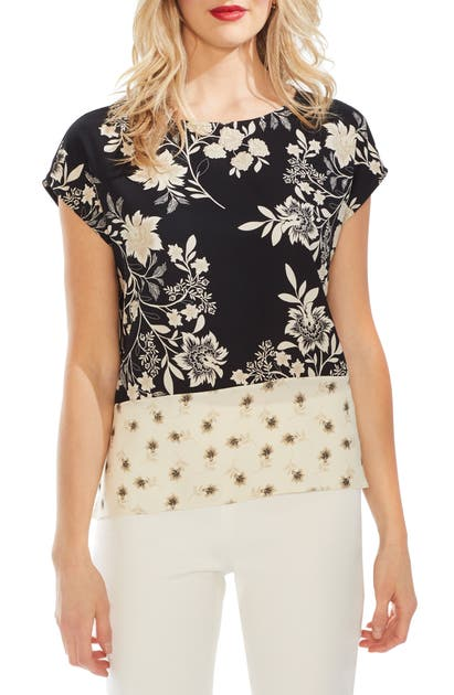 Vince Camuto Tops FLORAL BLOCK PRINT CAP SLEEVE TOP