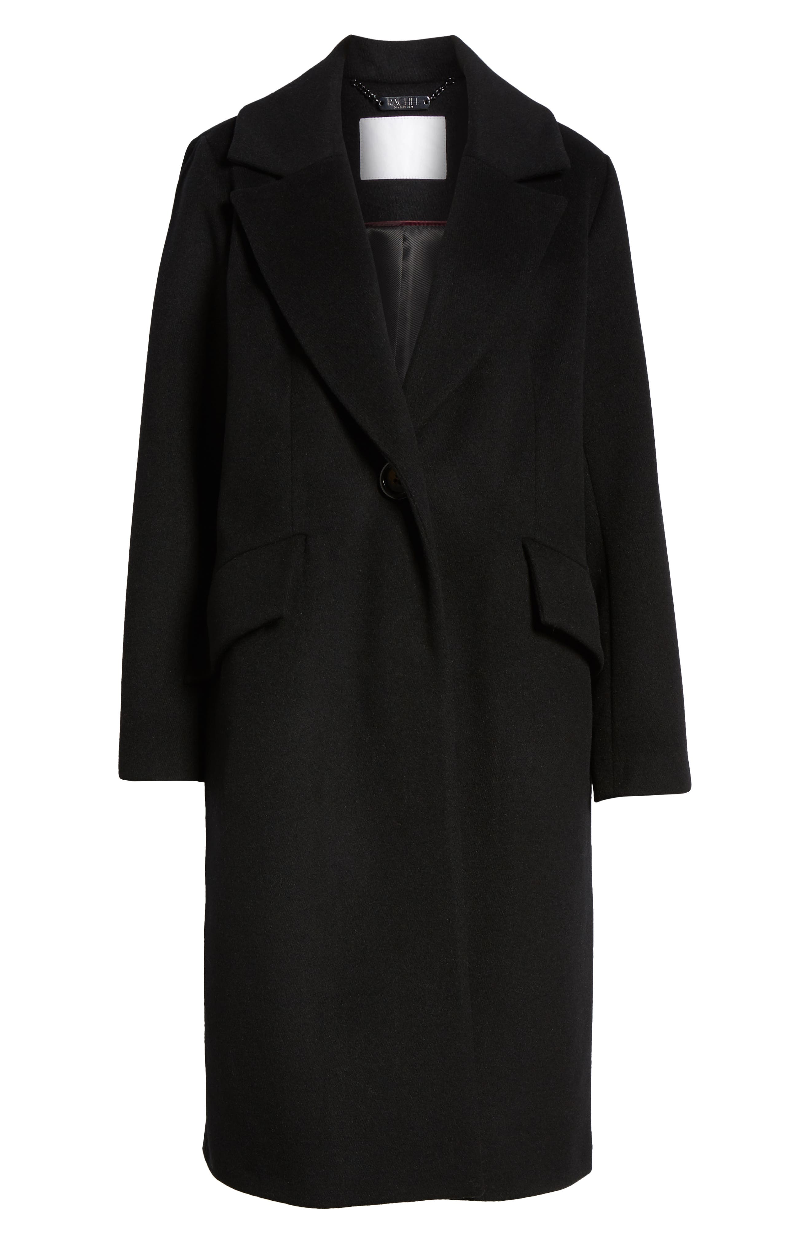 RACHEL RACHEL ROY, Wool Blend Coat, Alternate thumbnail 6, color, BLACK