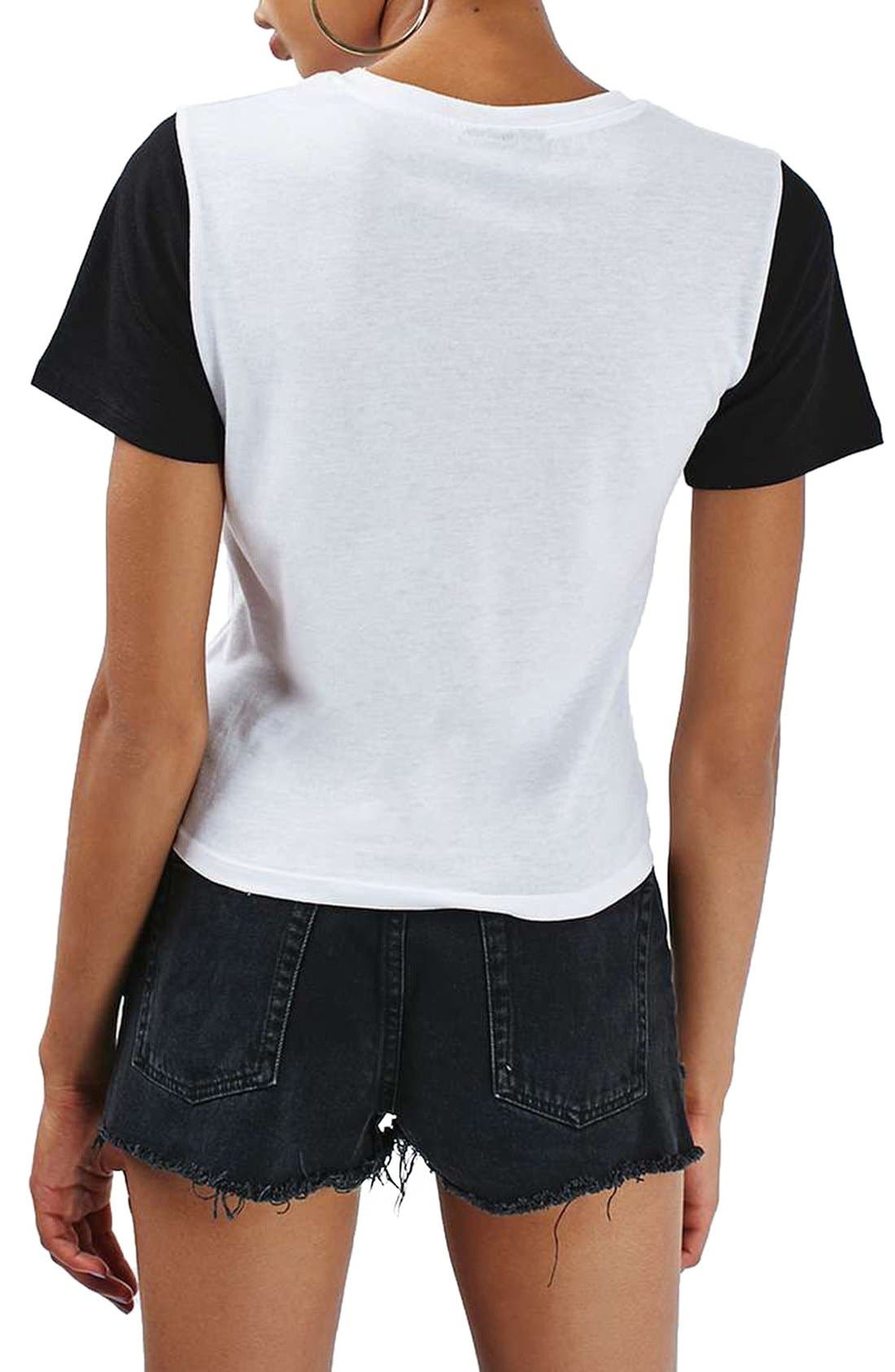 TOPSHOP, Colorblock Tee, Alternate thumbnail 5, color, 001