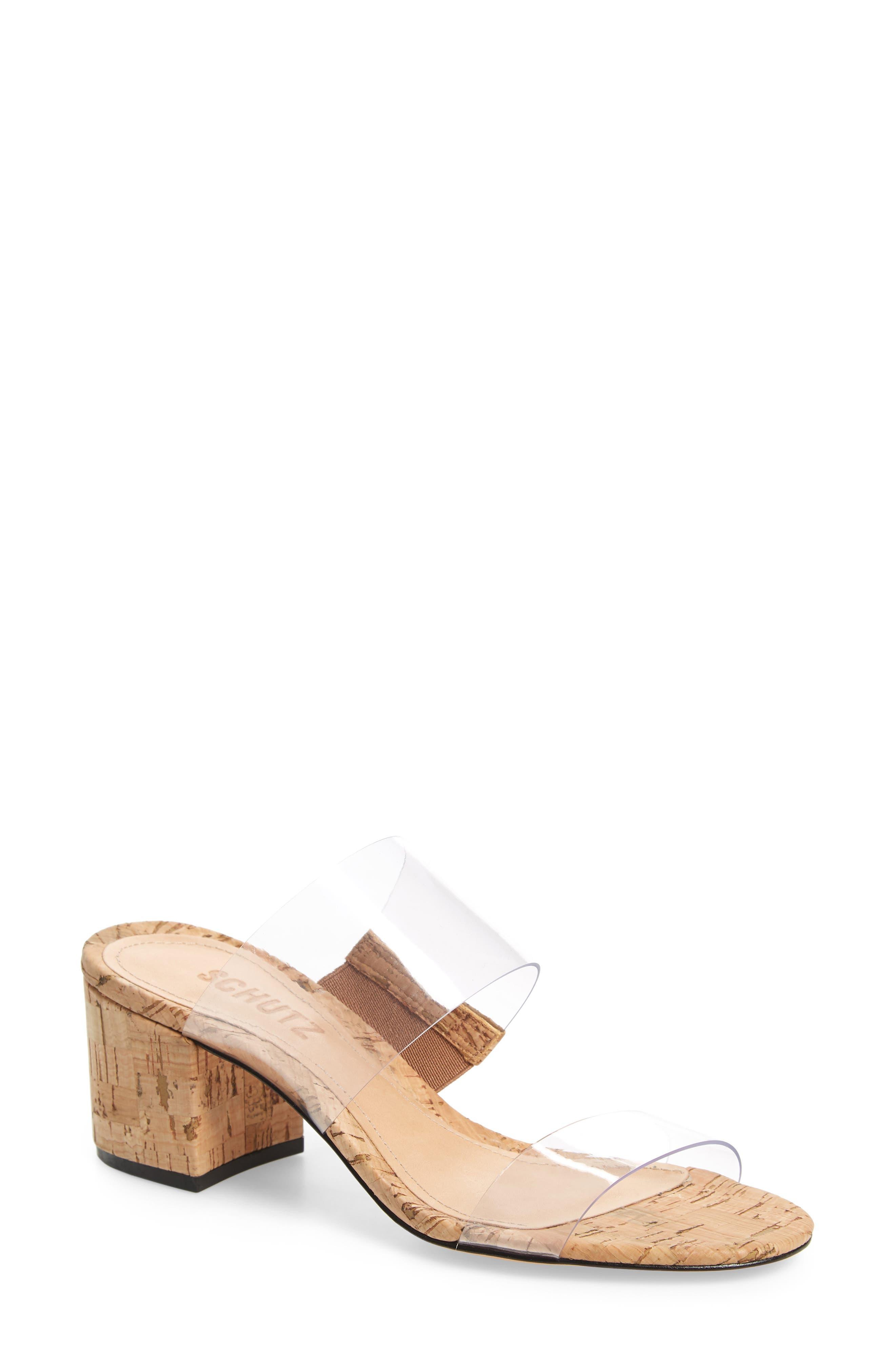 SCHUTZ Victorie Slide Sandal, Main, color, TRANSPARENT/ NATURAL