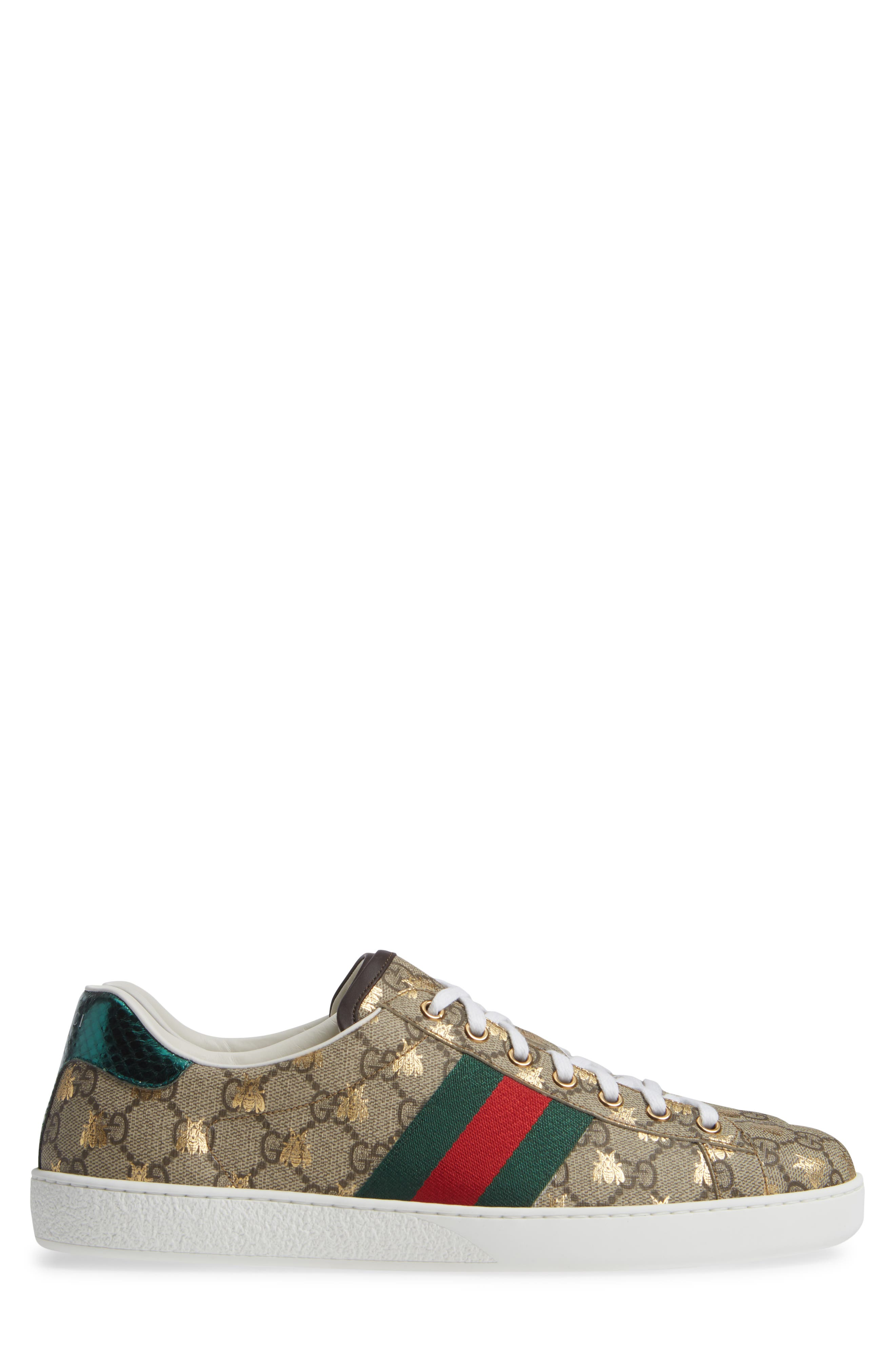 GUCCI, New Ace GG Supreme Sneaker, Alternate thumbnail 3, color, BEIGE/ GOLD