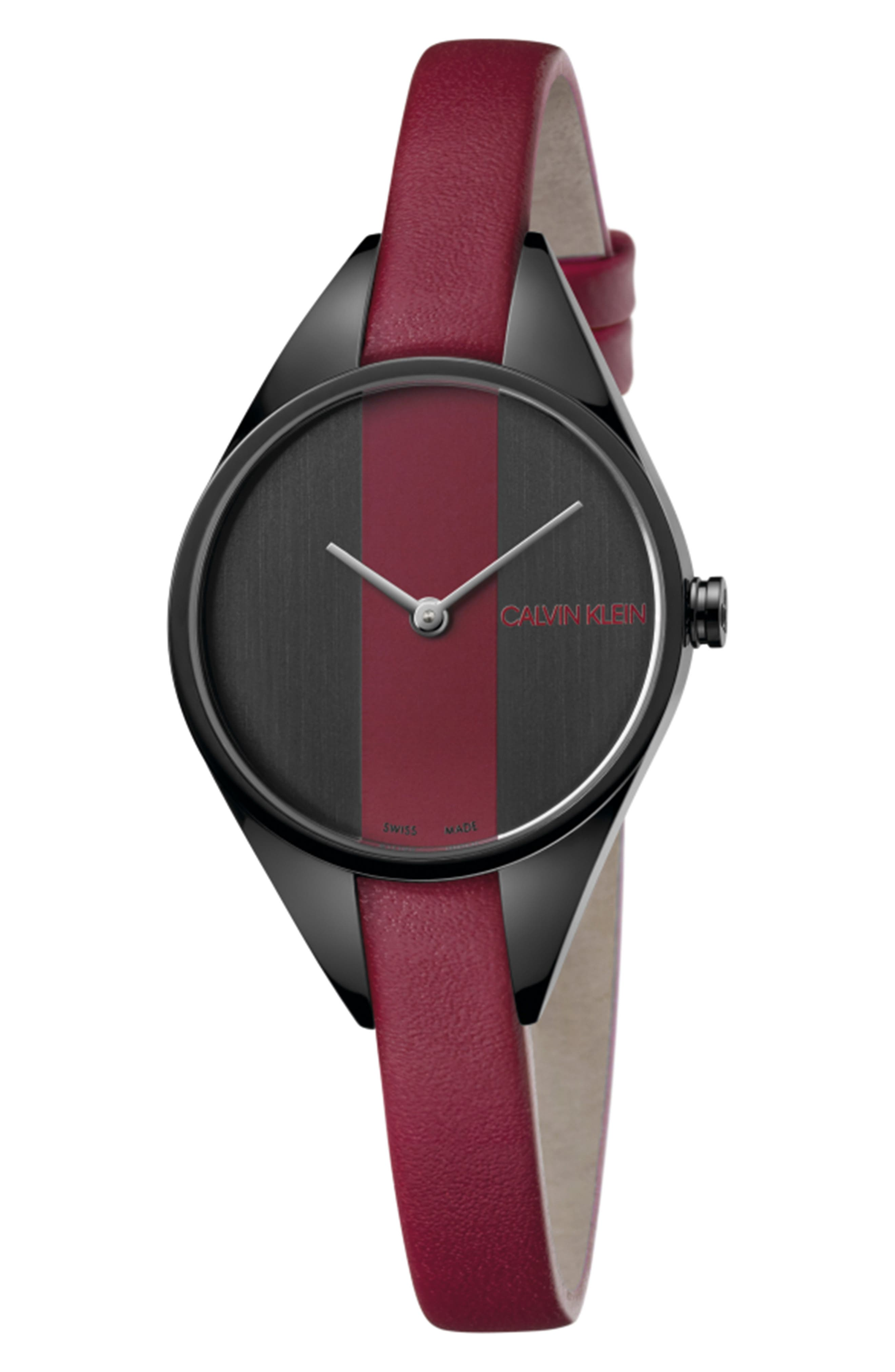 CALVIN KLEIN, Achieve Rebel Leather Band Watch, 29mm, Main thumbnail 1, color, RED/ BLACK