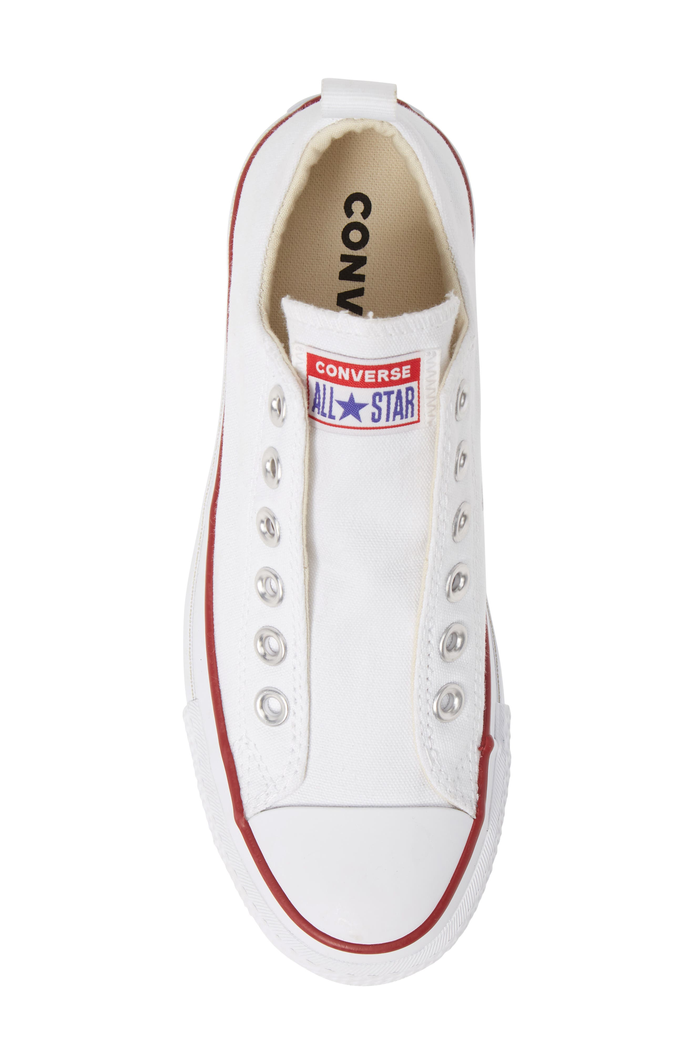 CONVERSE, Chuck Taylor<sup>®</sup> All Star<sup>®</sup> Low Top Sneaker, Alternate thumbnail 5, color, WHITE/ RED/ BLUE