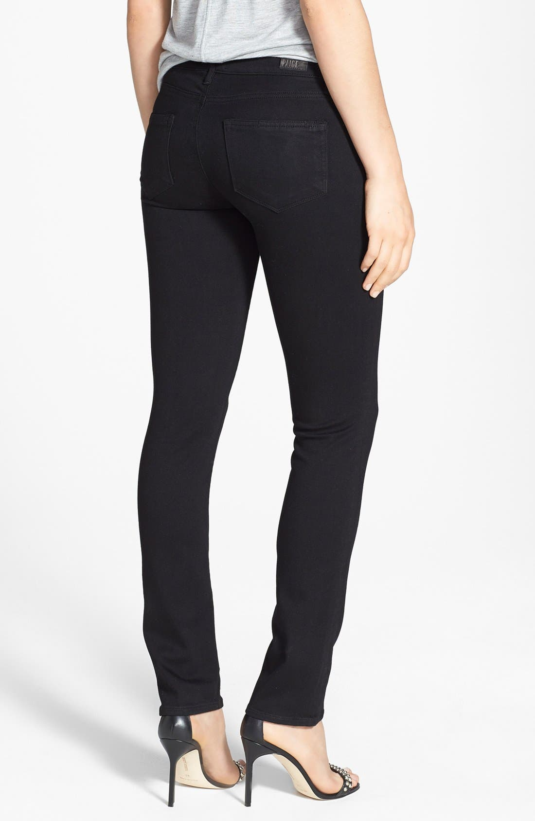 PAIGE, Transcend - Skyline Skinny Jeans, Alternate thumbnail 13, color, BLACK SHADOW