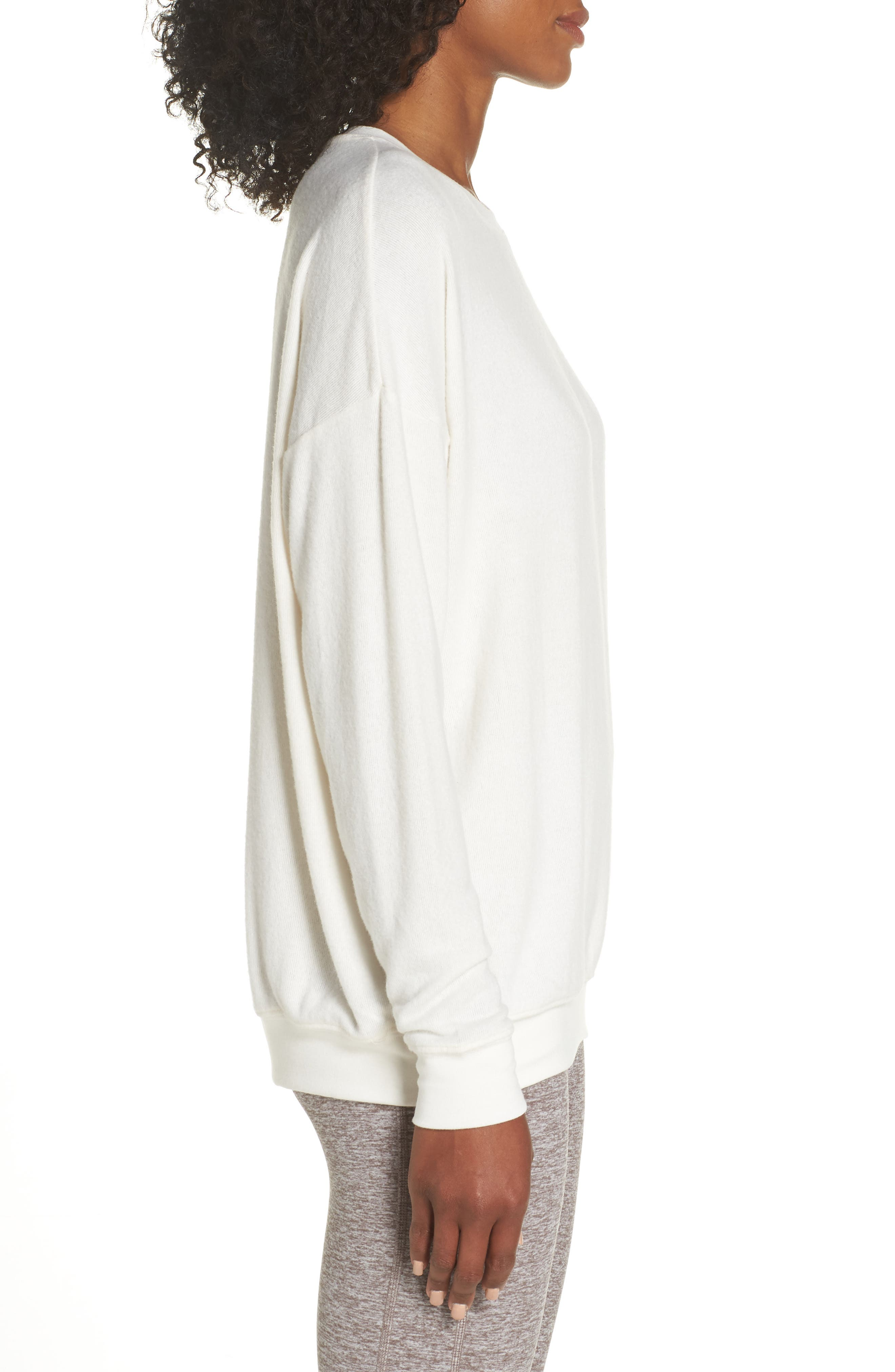 ALO, Soho Pullover, Alternate thumbnail 4, color, PRISTINE HEATHER