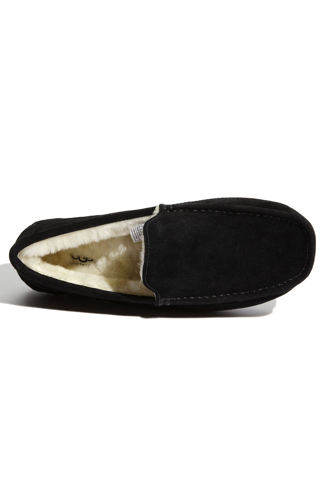 UGG<SUP>®</SUP>, Ascot Suede Slipper, Alternate thumbnail 6, color, BLACK SUEDE