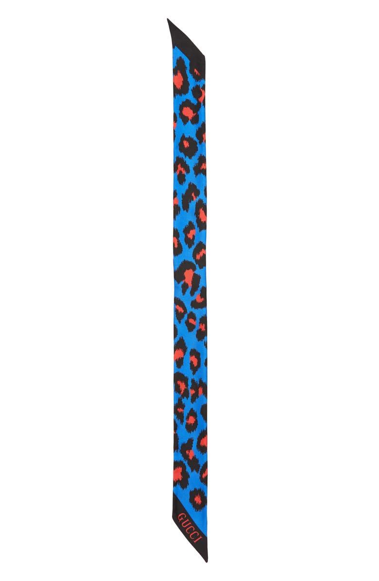 3033e7496ffd Gucci Leopard Print Silk Neck Scarf