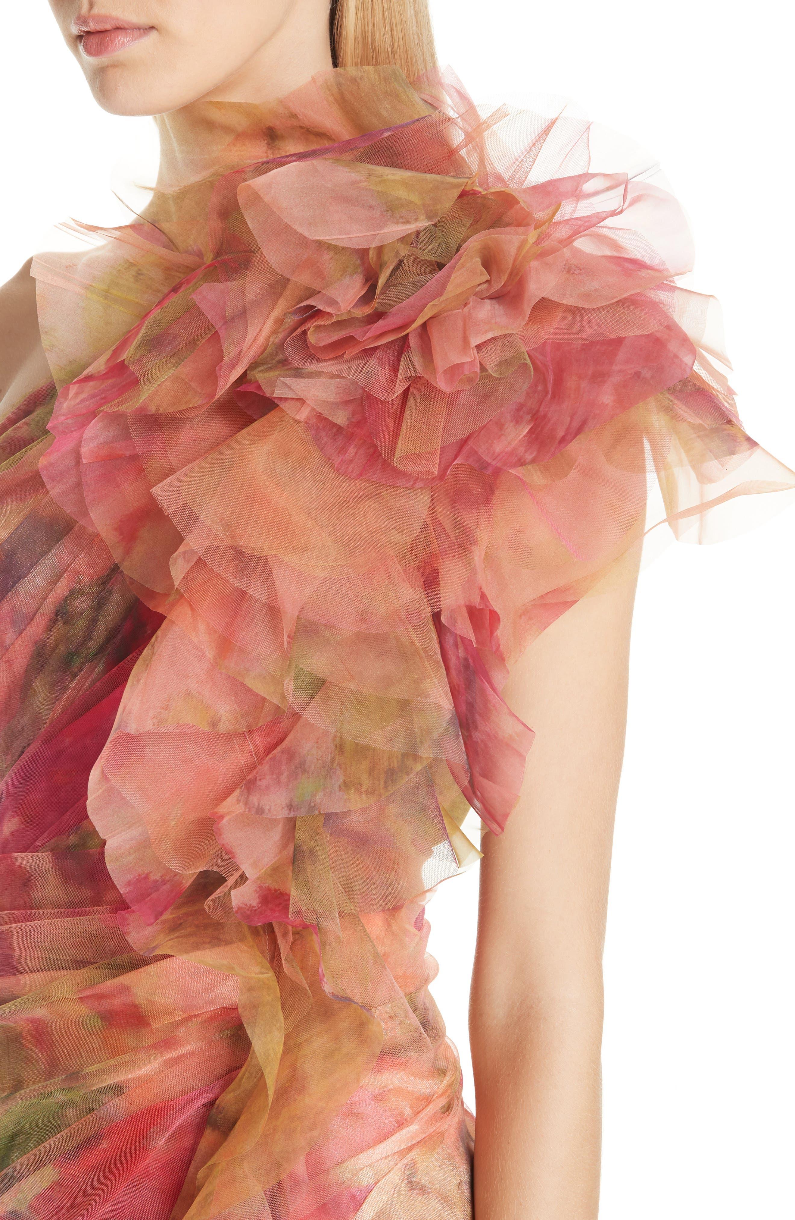 MARCHESA, Floral One-Shoulder Silk Evening Dress, Alternate thumbnail 4, color, 950