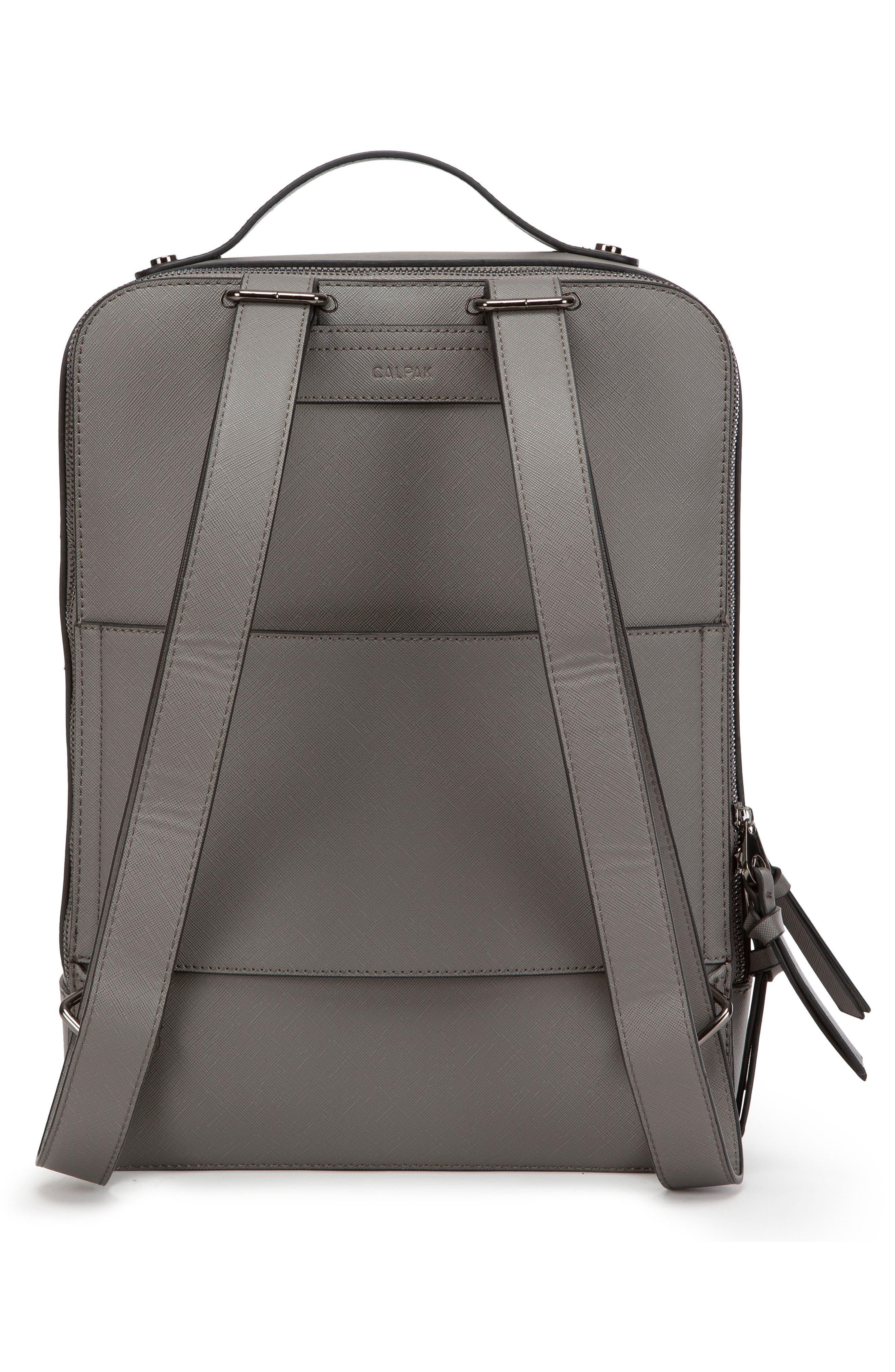 CALPAK, Kaya Faux Leather Laptop Backpack, Alternate thumbnail 2, color, CHARCOAL