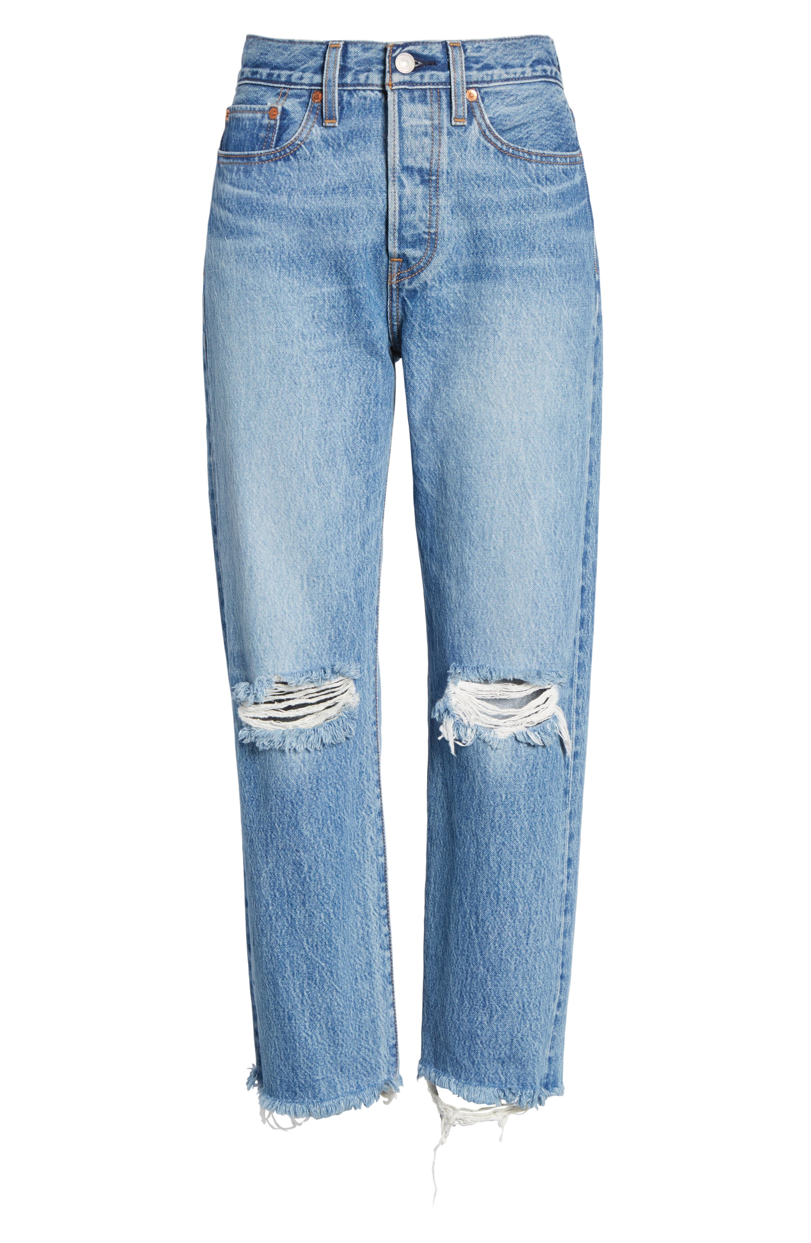 LEVI'S<SUP>®</SUP>, Wedgie High Waist Ripped Crop Straight Leg Jeans, Alternate thumbnail 7, color, UNCOVERED TRUTH