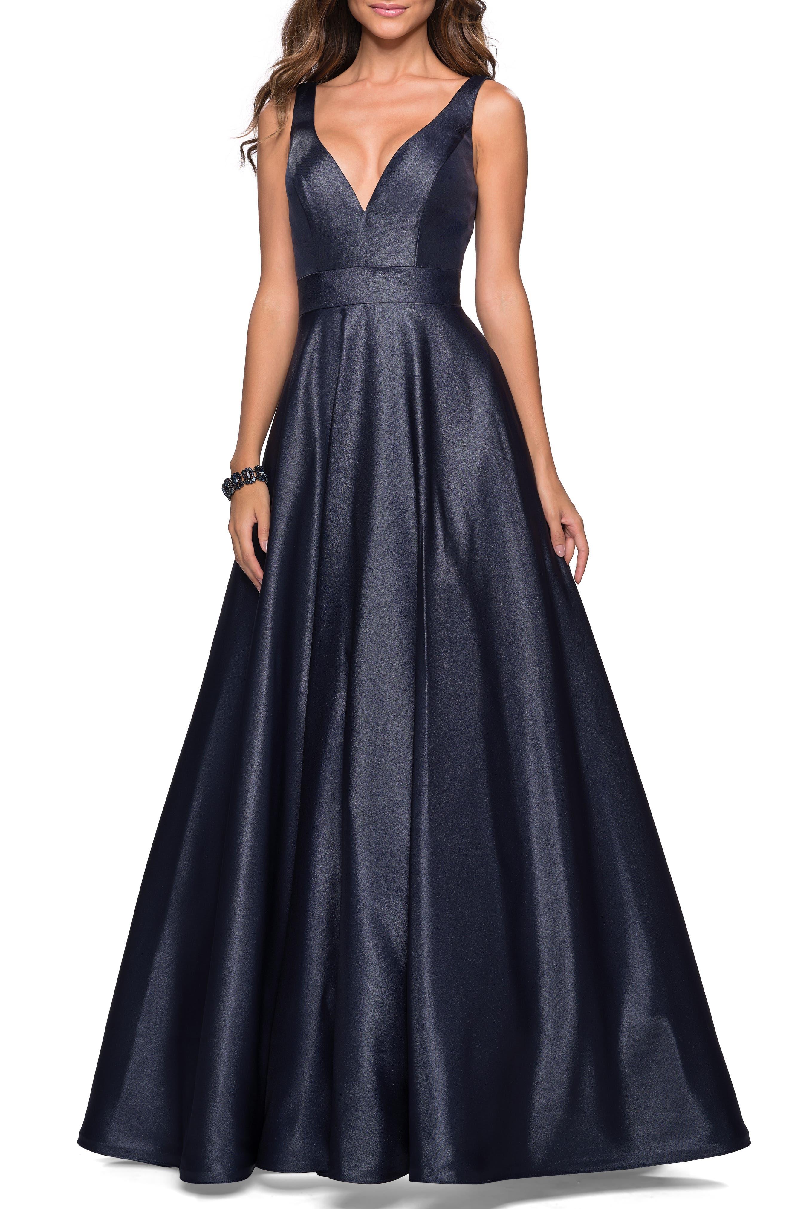 LA FEMME, Mikado Evening Dress, Main thumbnail 1, color, NAVY