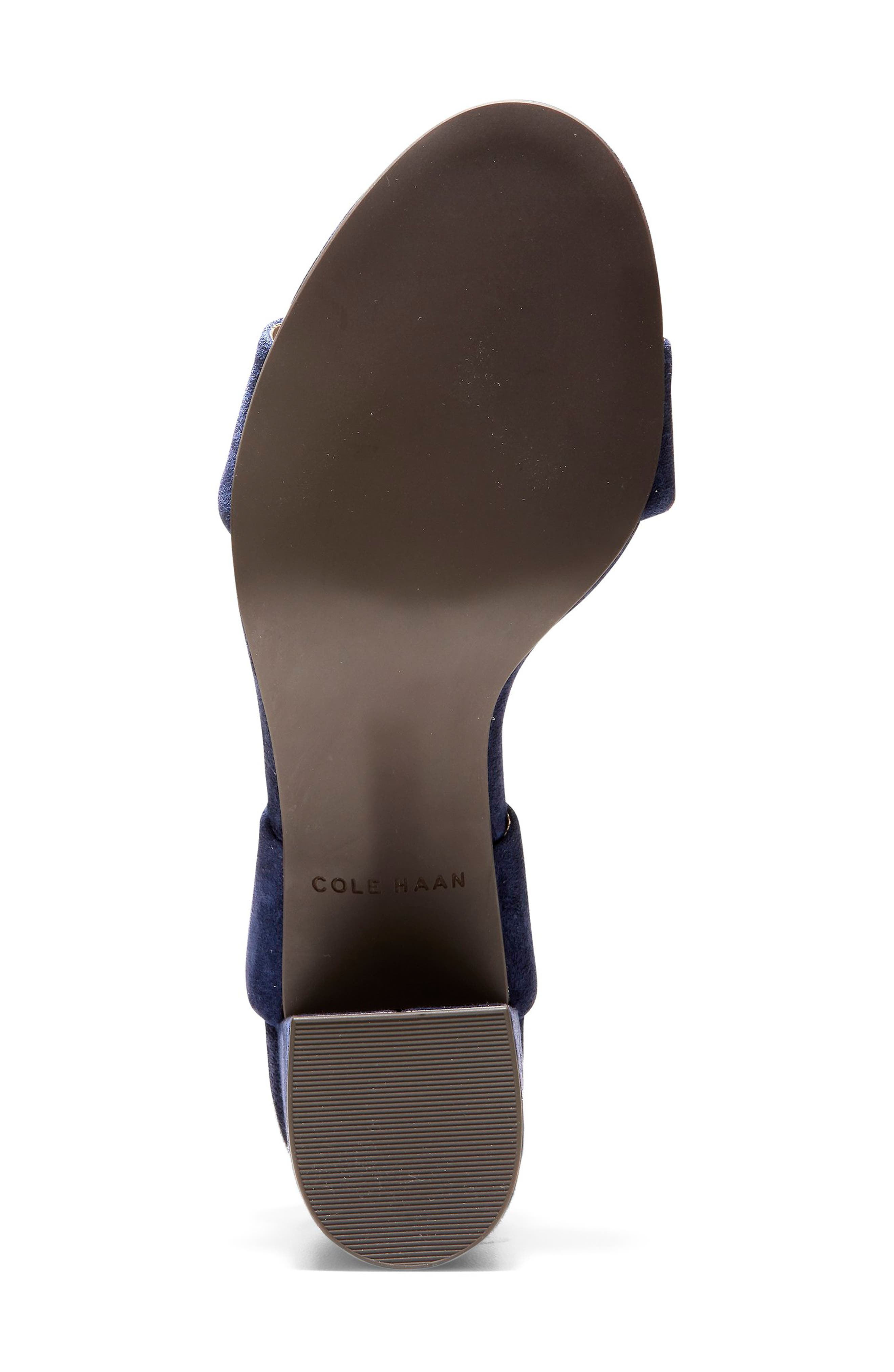 COLE HAAN, Avani Block Heel Sandal, Alternate thumbnail 5, color, MARINE BLUE SUEDE