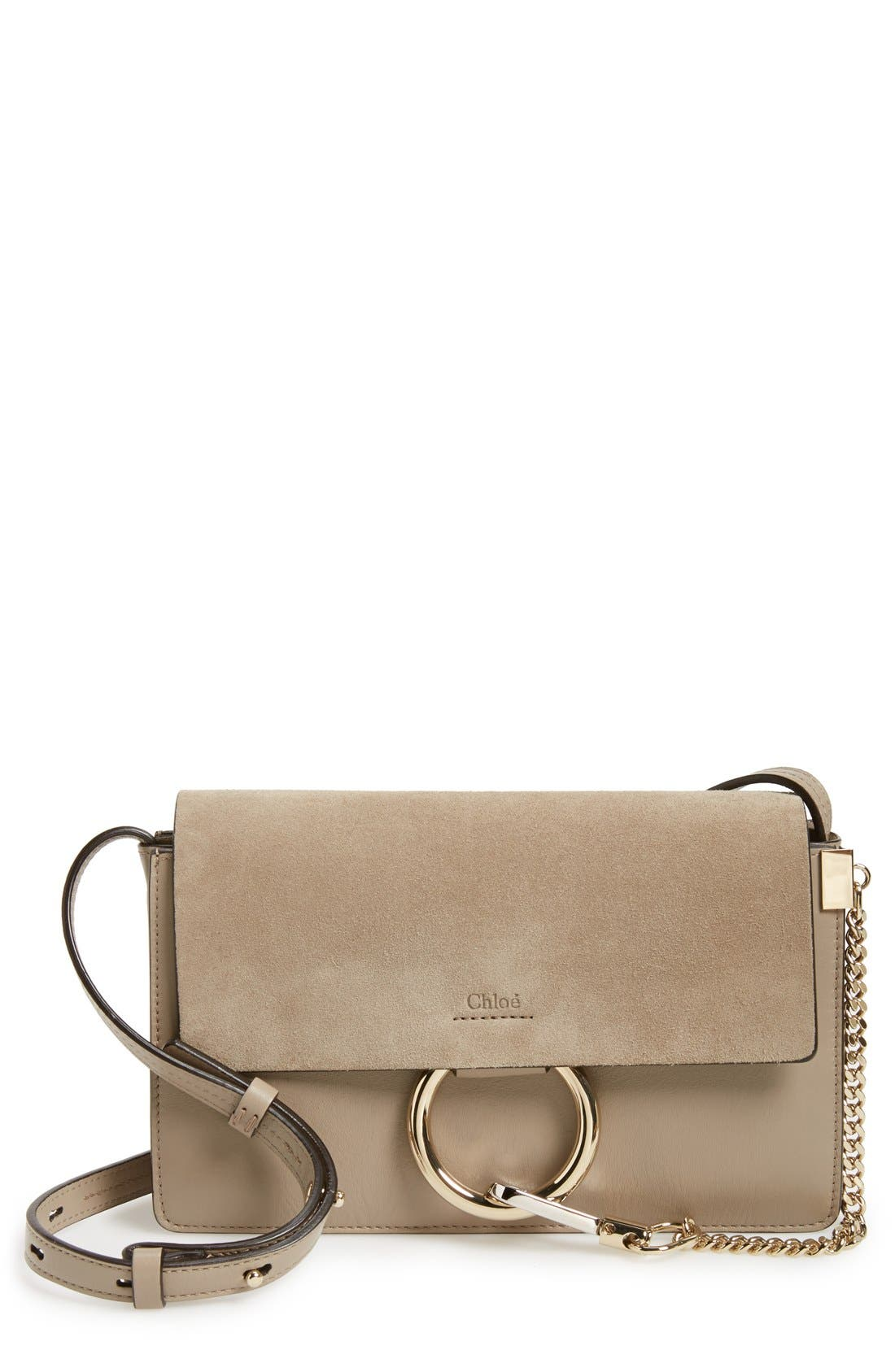 CHLOÉ, Small Faye Leather Shoulder Bag, Main thumbnail 1, color, MOTTY GREY