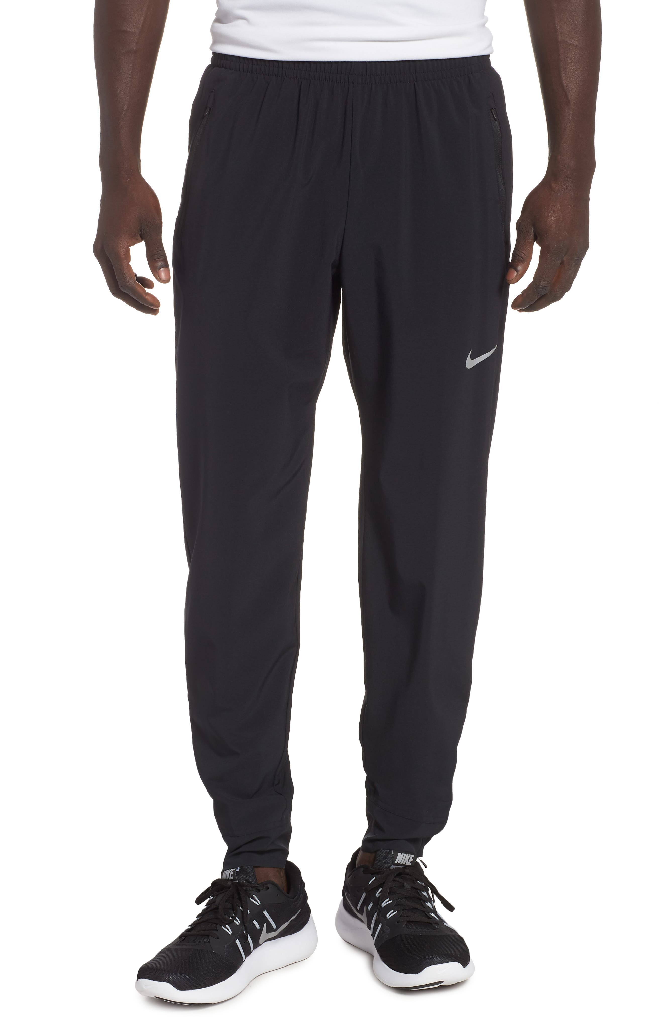 NIKE, Essential Woven Track Pants, Main thumbnail 1, color, BLACK