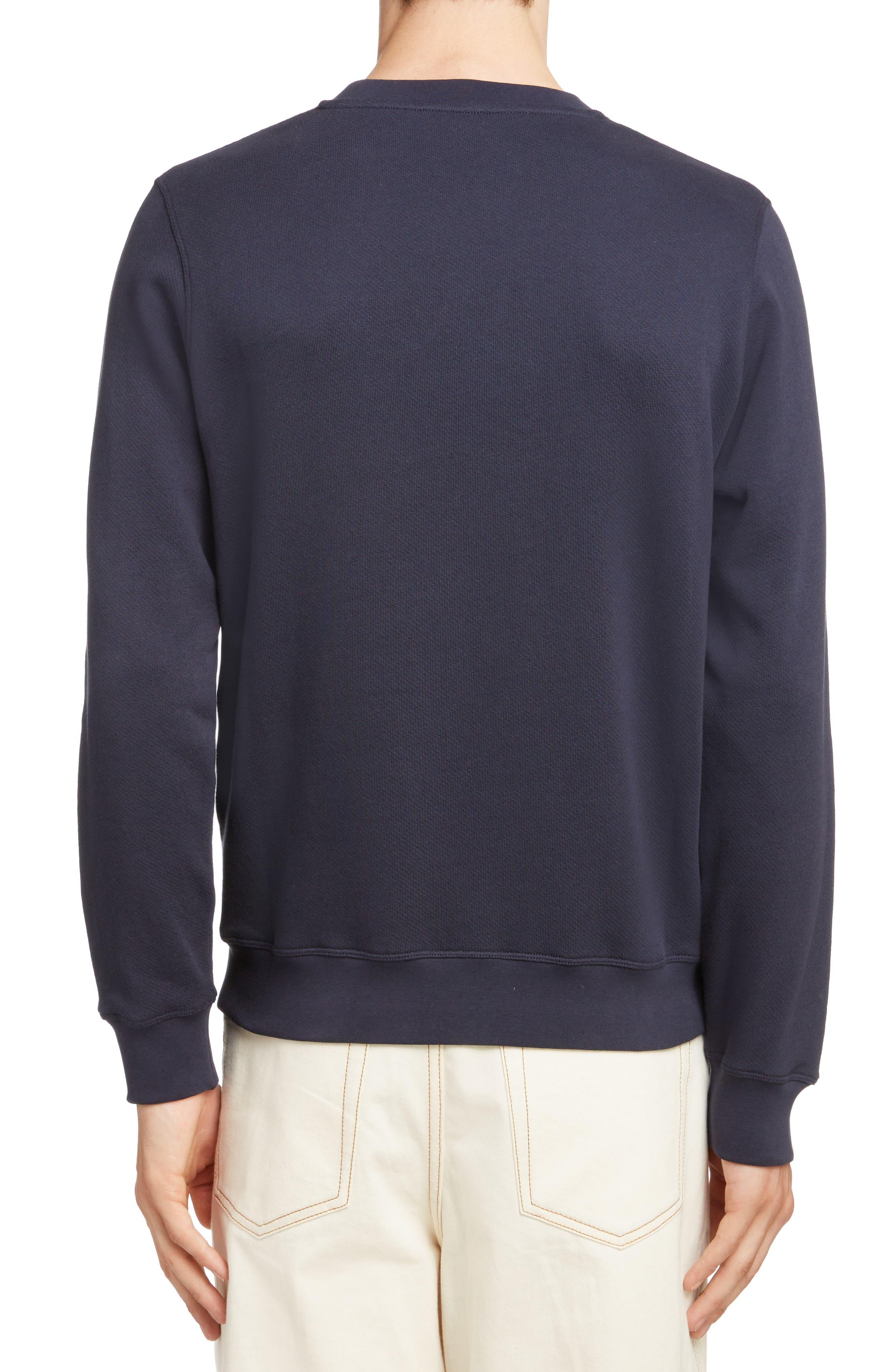 LOEWE, Anagram Sweatshirt, Alternate thumbnail 2, color, 5387-NAVY BLUE/ MULTICOLOR