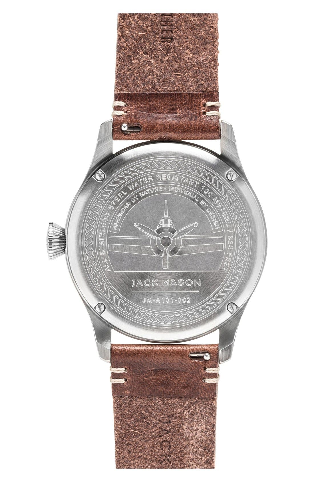 JACK MASON, Aviation Leather Strap Watch, 42mm, Alternate thumbnail 2, color, BLACK/ SILVER/ BROWN