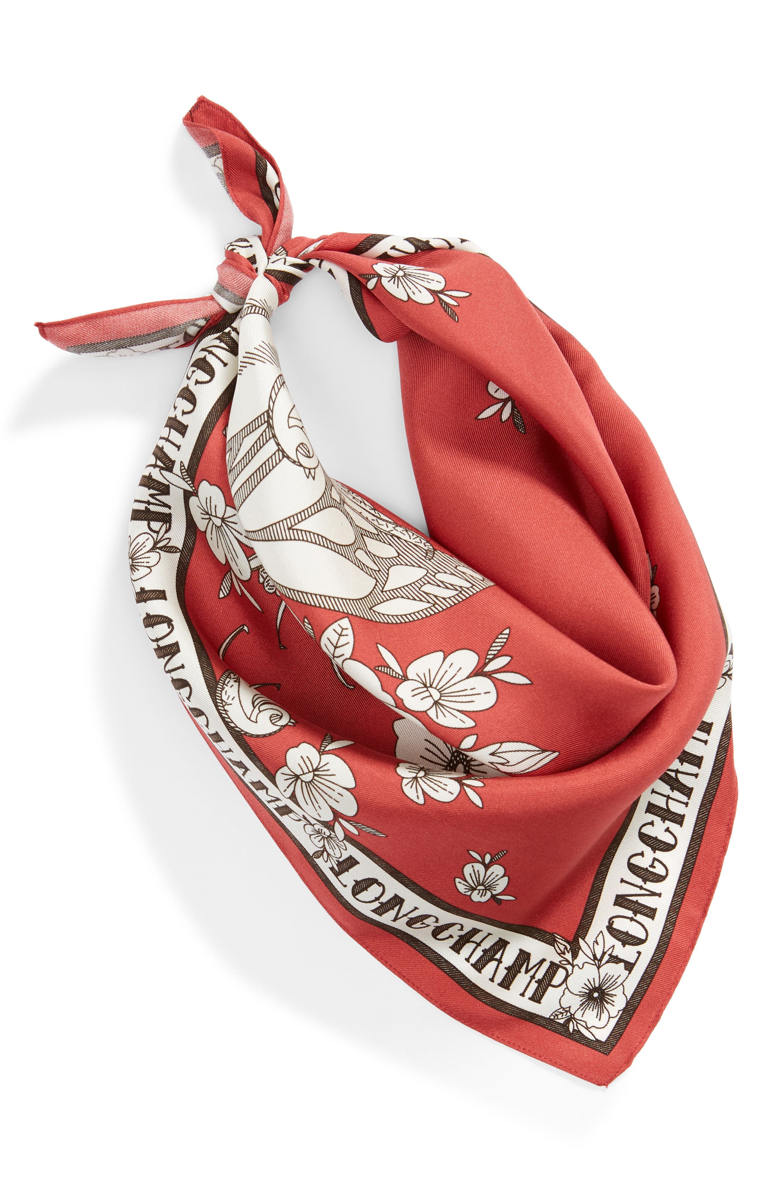 LONGCHAMP, Tattoo Silk Scarf, Alternate thumbnail 3, color, FIG
