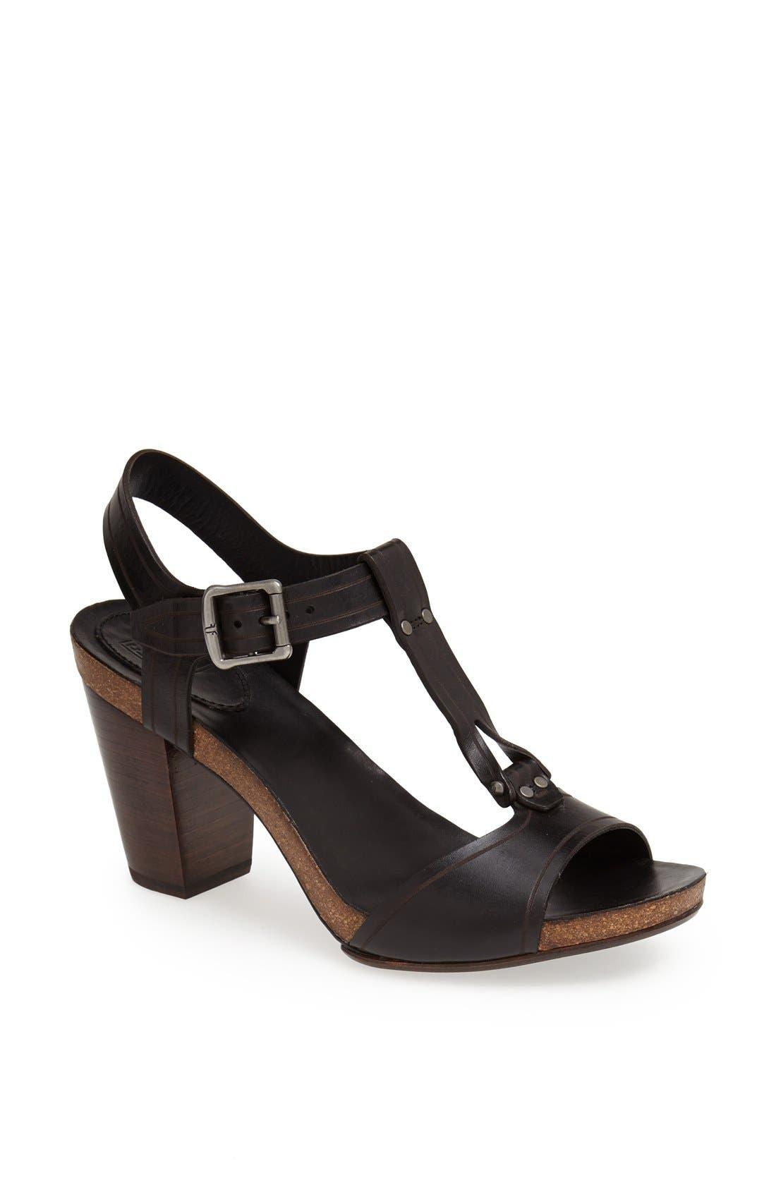 FRYE, 'Silvie' Y-Strap Leather Sandal, Main thumbnail 1, color, 001