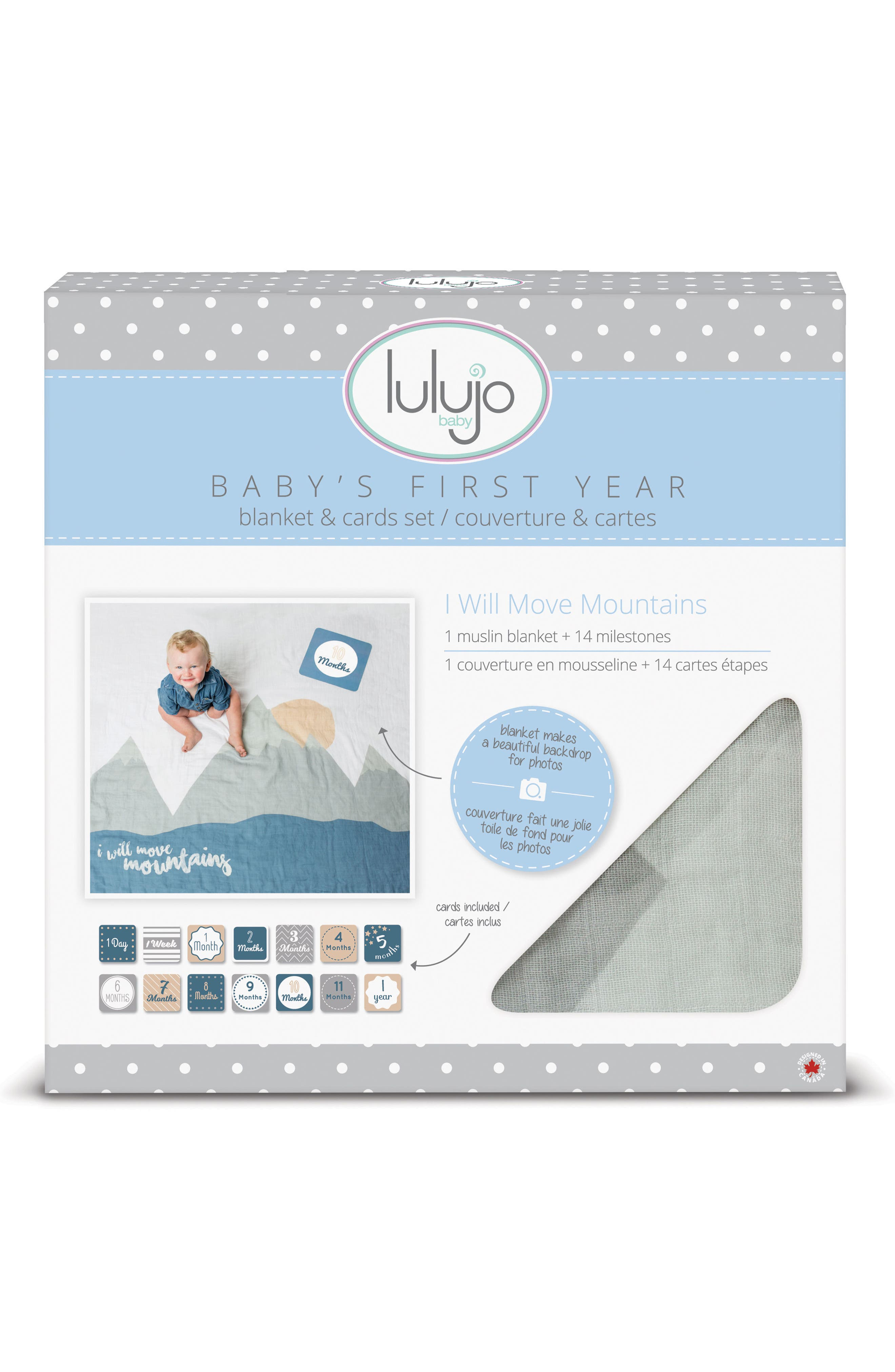 LULUJO, Baby's First Year - I Will Move Mountains Muslin Blanket & Milestone Card Set, Alternate thumbnail 2, color, WILL MOVE MOUNTAINS