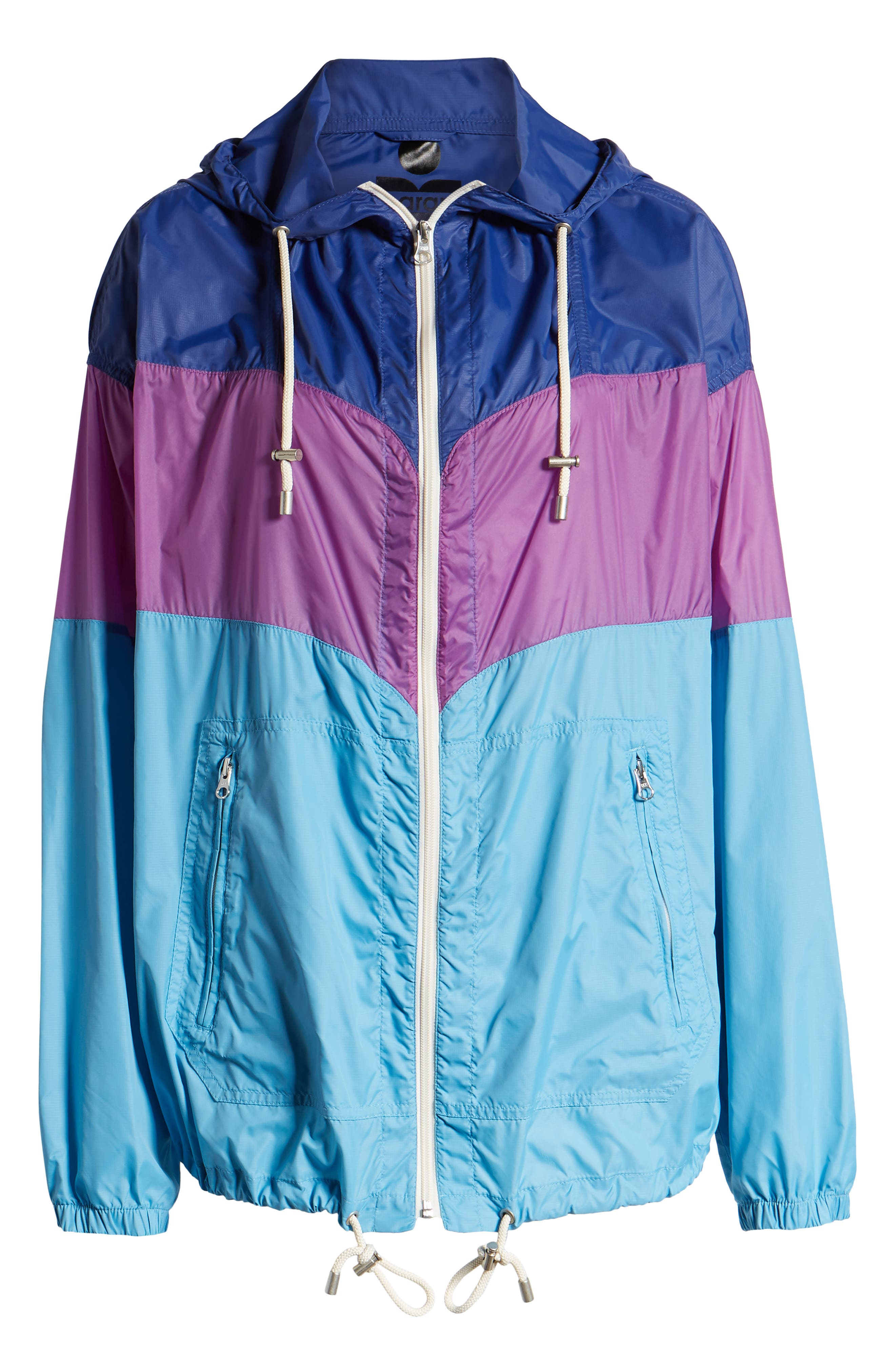 ISABEL MARANT ÉTOILE, Kyriel Colorblock Hooded Jacket, Alternate thumbnail 6, color, ELECTRIC BLUE/ VIOLET
