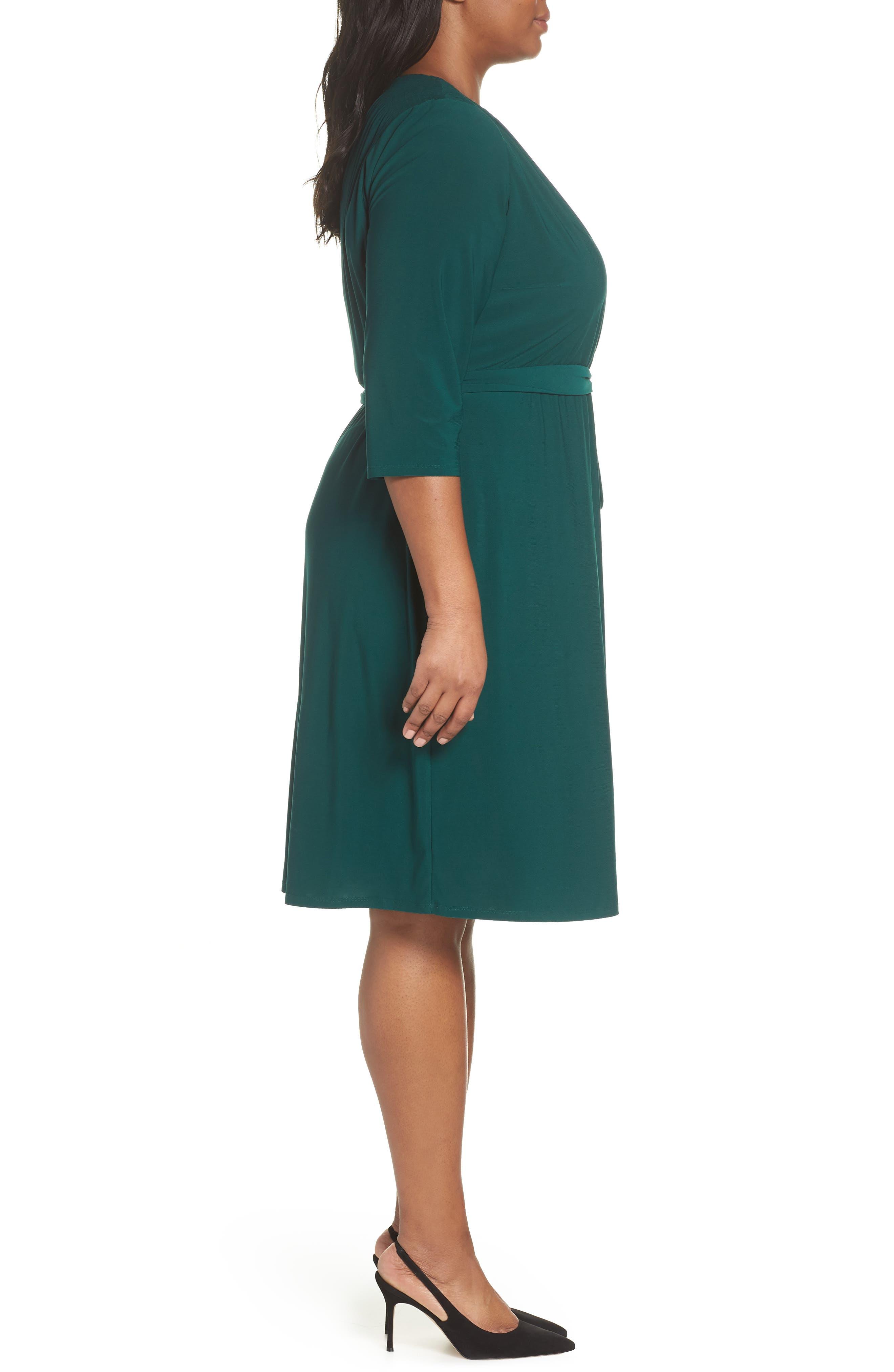 ELIZA J, Smocked Shoulder Wrap Dress, Alternate thumbnail 4, color, 376