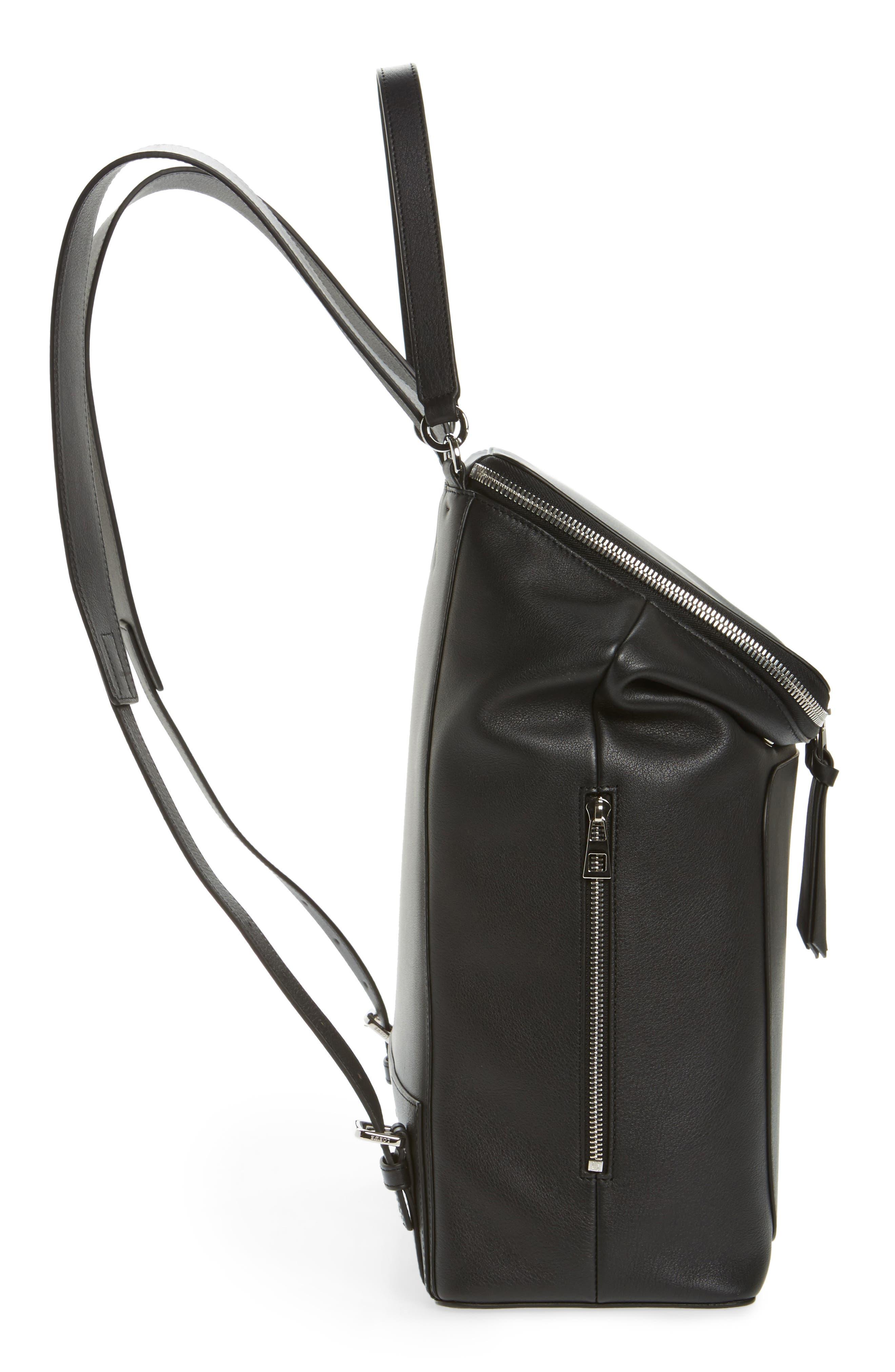 LOEWE, Goya Leather Backpack, Alternate thumbnail 5, color, BLACK