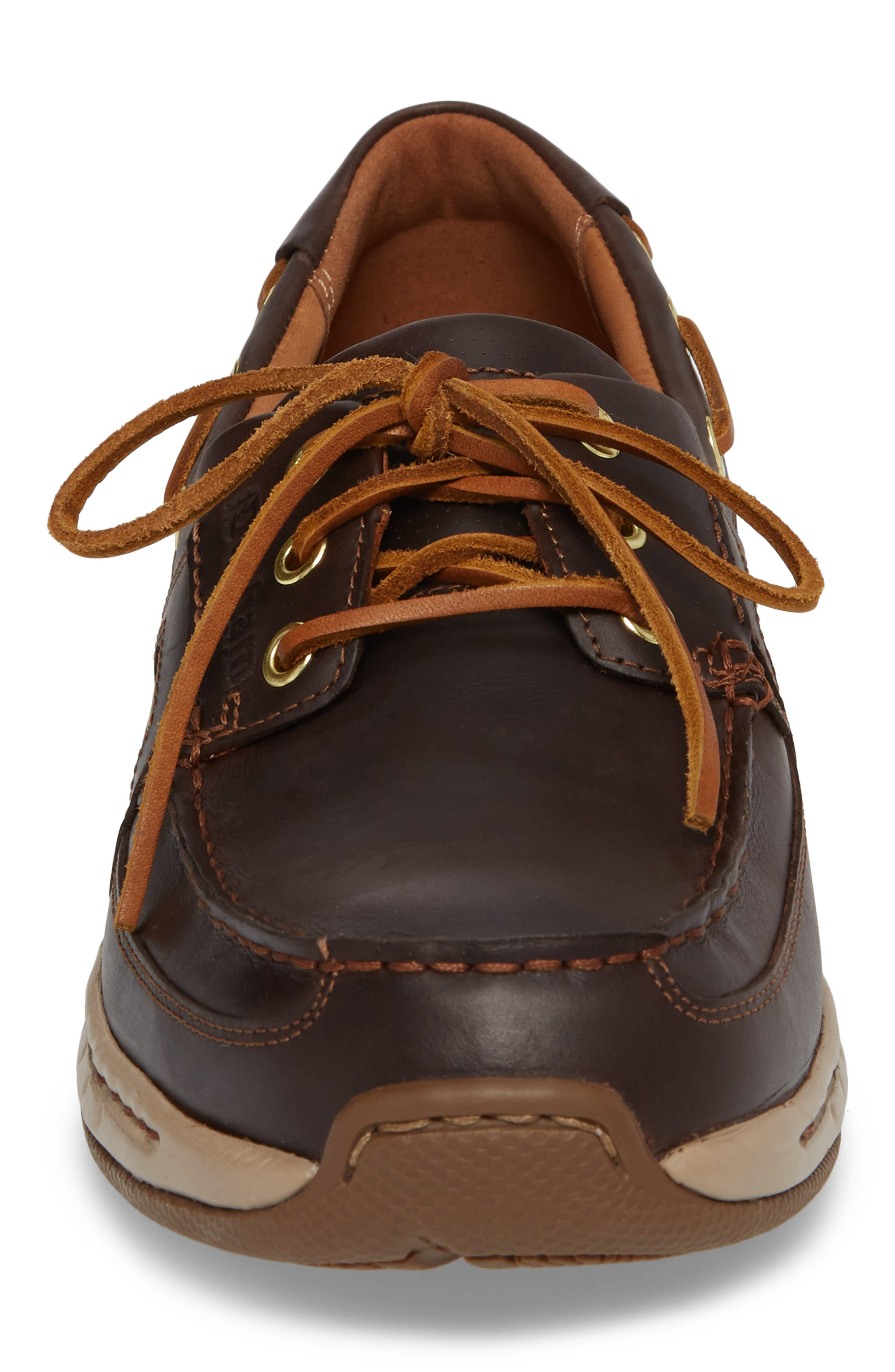 DUNHAM, LTD Water Resistant Boat Shoe, Alternate thumbnail 4, color, TAN LEATHER