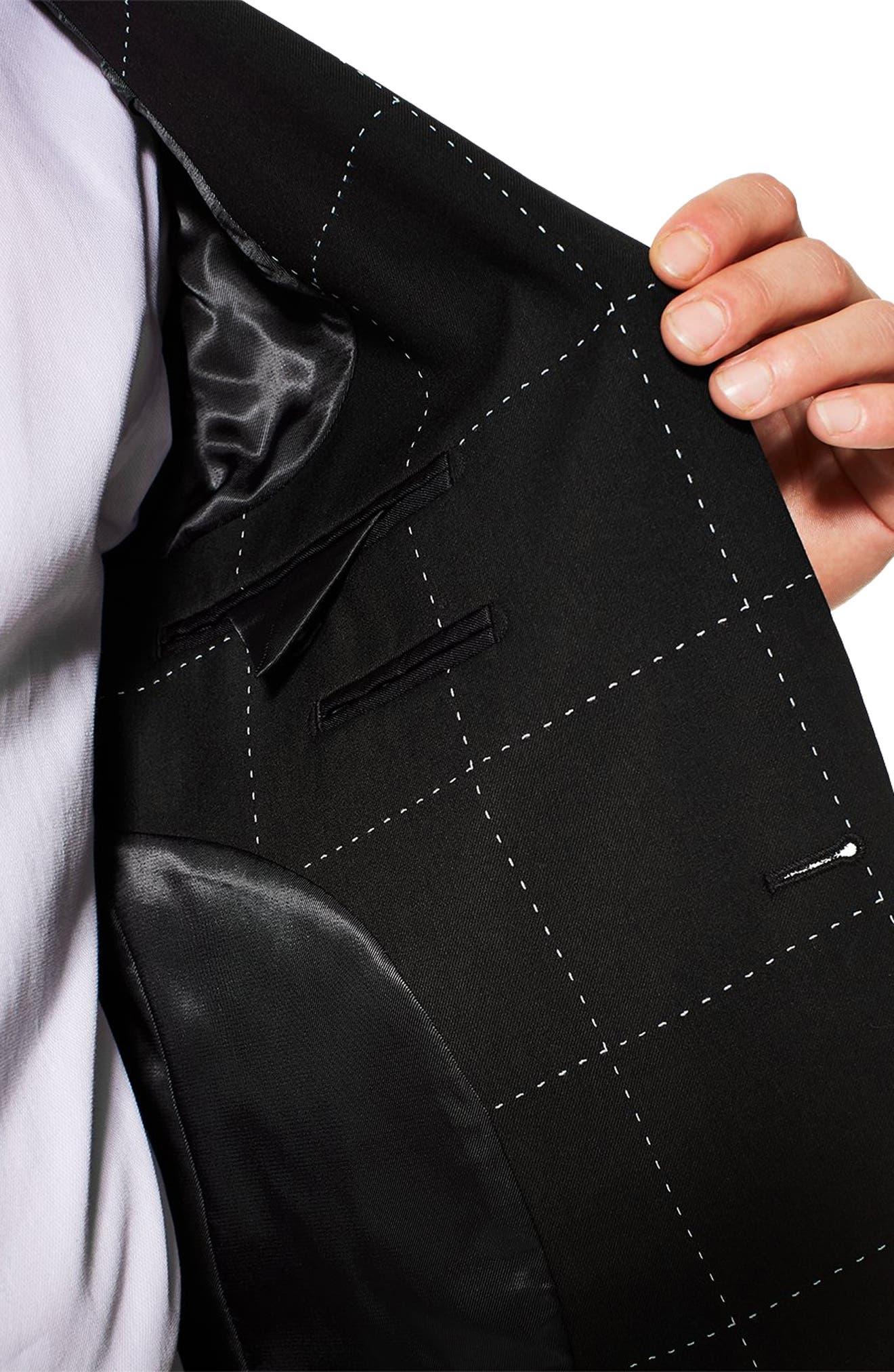 TOPMAN, Slim Fit Topstitch Suit Jacket, Alternate thumbnail 3, color, BLACK