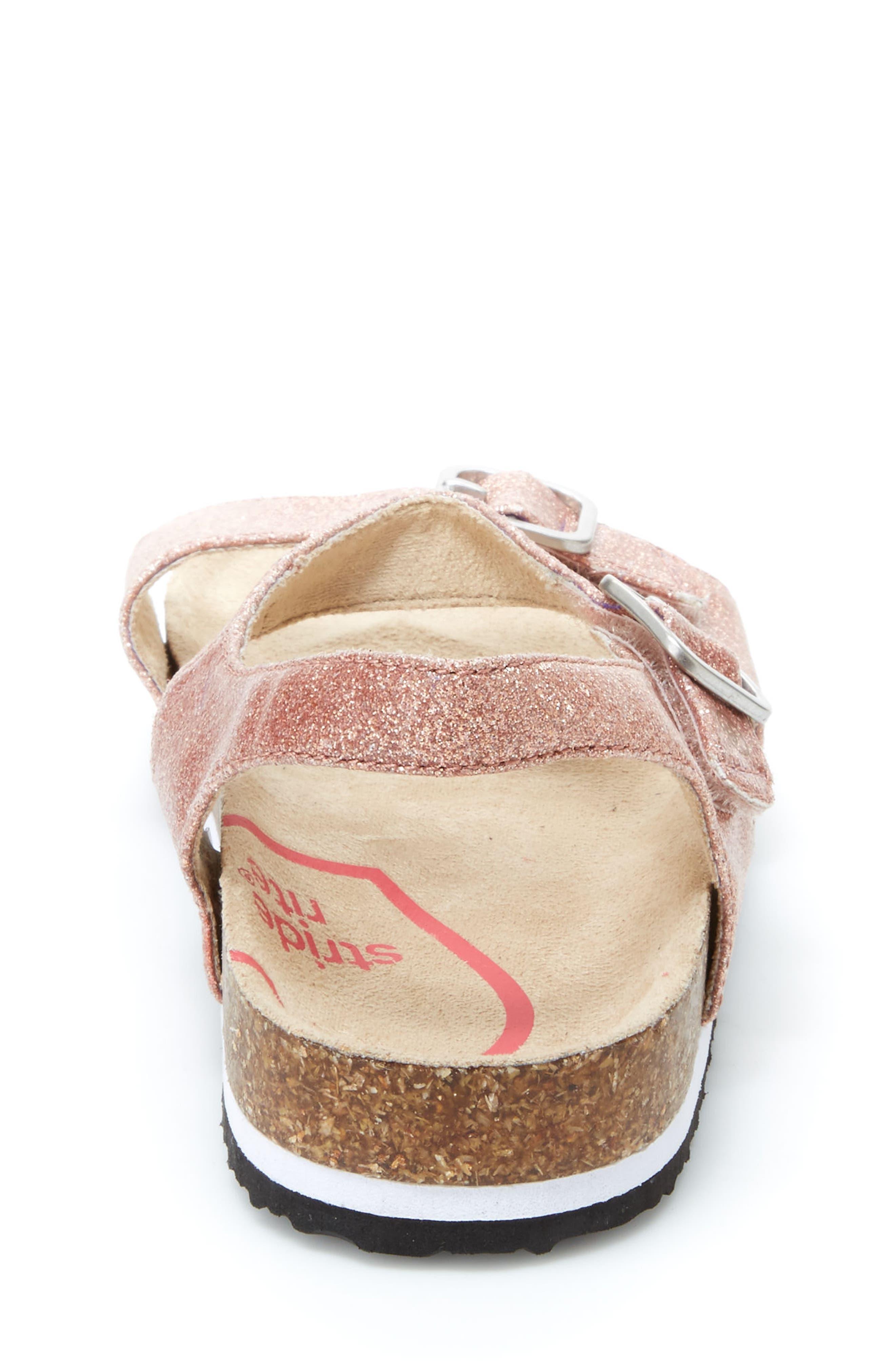 STRIDE RITE, Zuly Glitter Sandal, Alternate thumbnail 6, color, ROSE GOLD