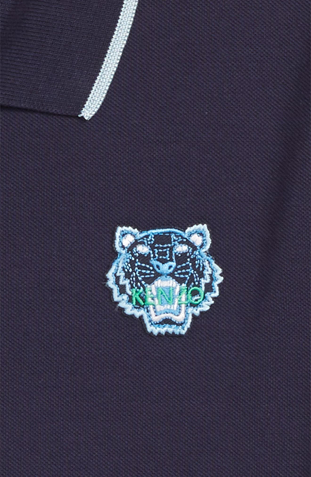 KENZO, Tipped Tiger Polo, Alternate thumbnail 2, color, NAVY