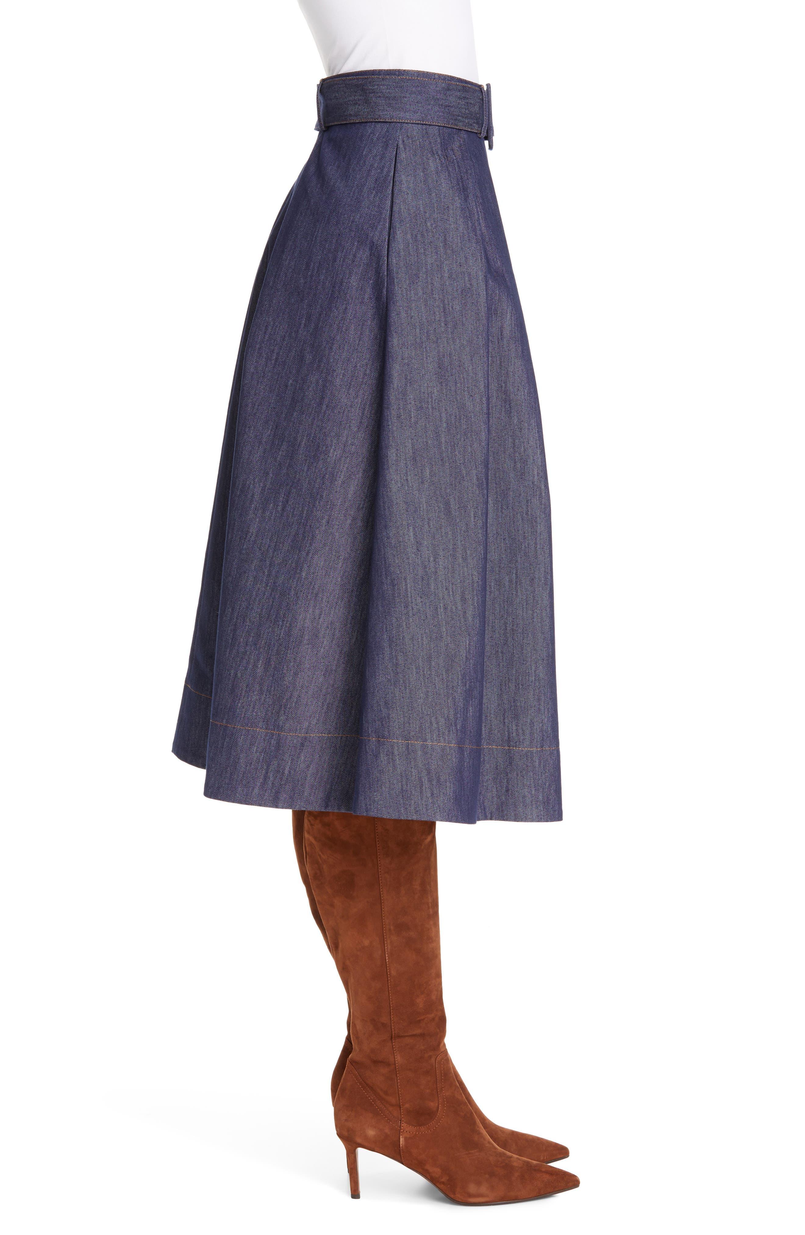 TOMMY X ZENDAYA, Belted Denim Skirt, Alternate thumbnail 3, color, 402