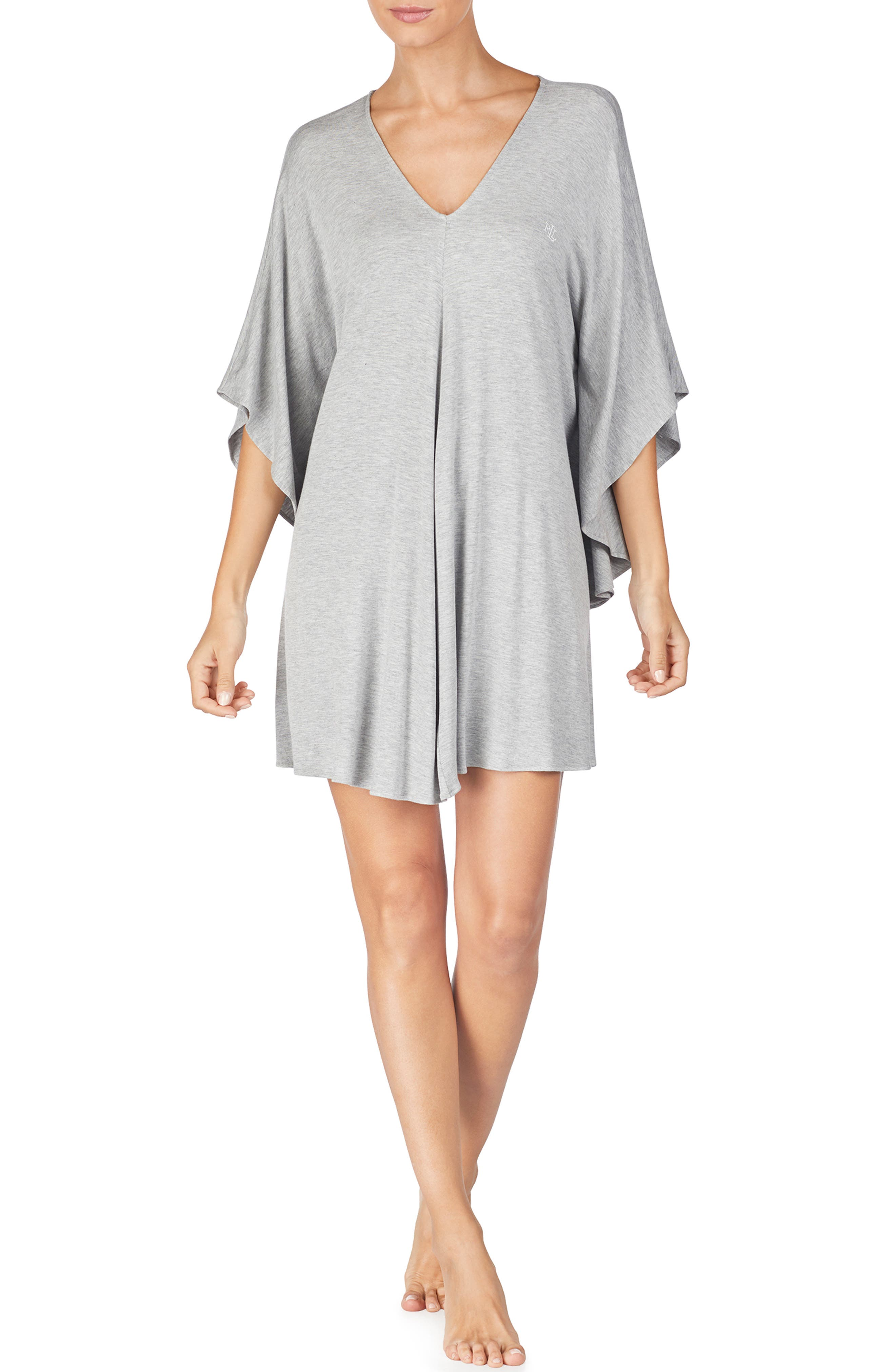 LAUREN RALPH LAUREN, Caftan Nightgown, Main thumbnail 1, color, GREY