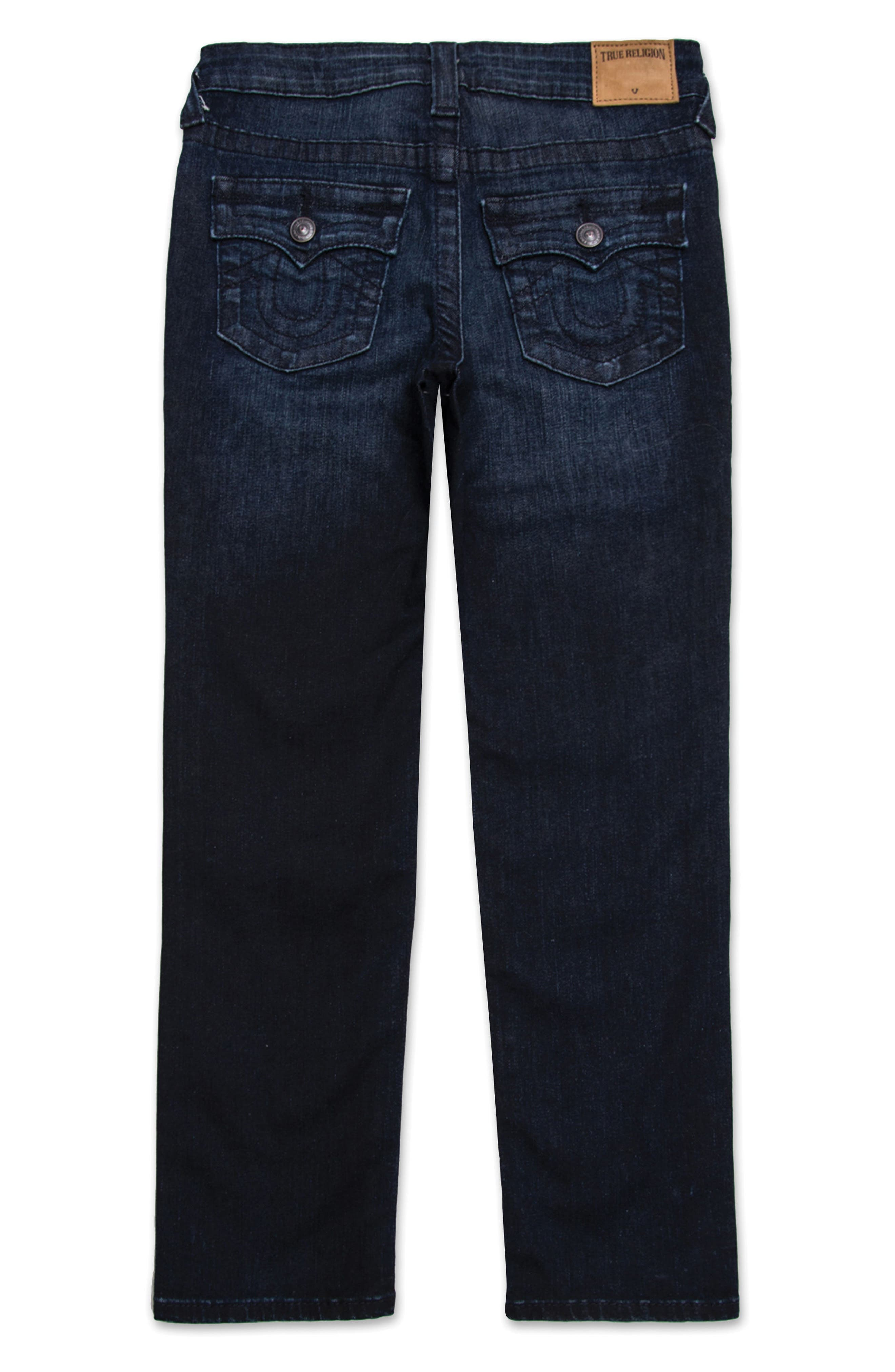 TRUE RELIGION BRAND JEANS, Geno Relaxed Slim Fit Jeans, Main thumbnail 1, color, BLUE ASPHALT WASH