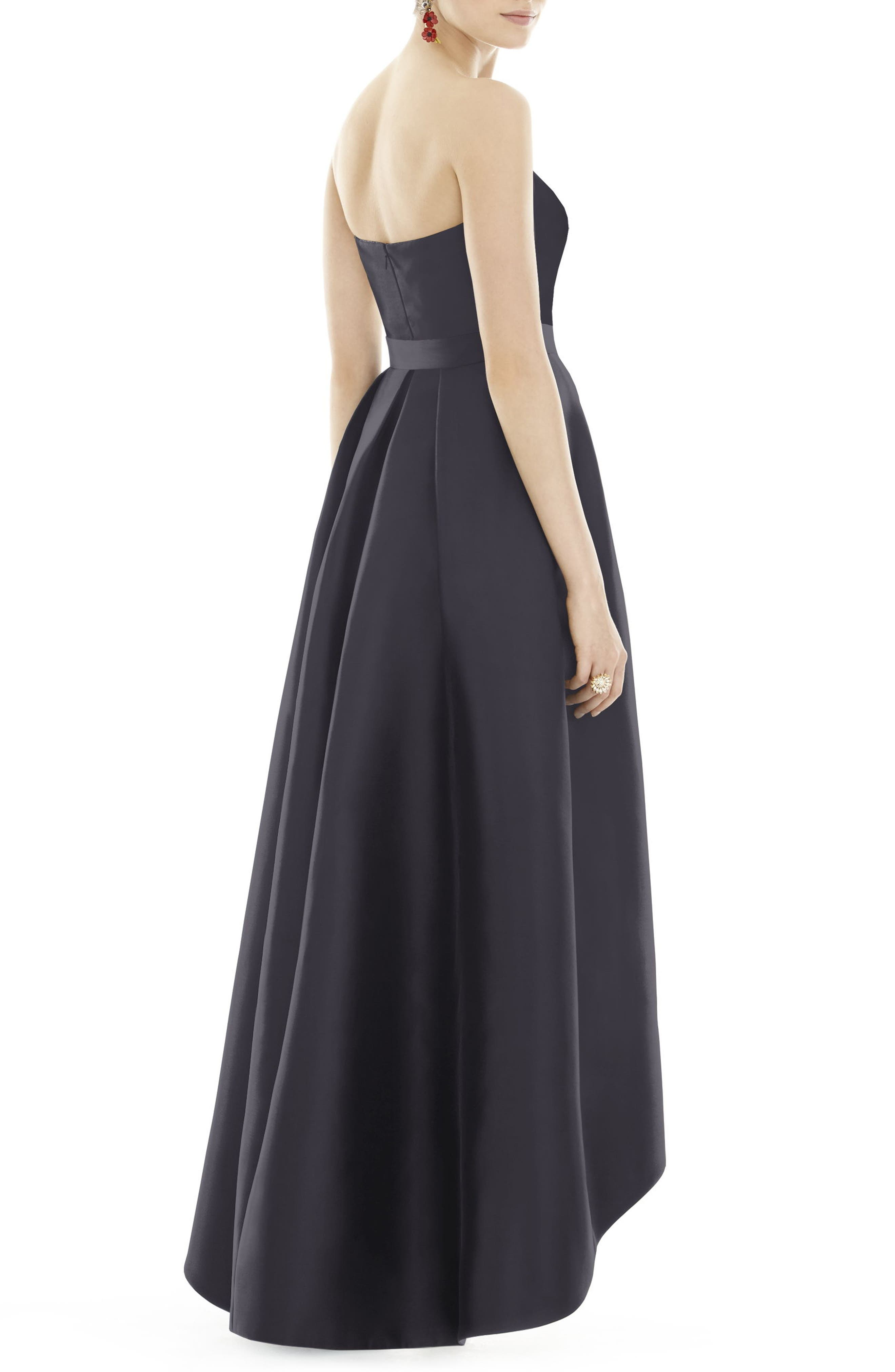 ALFRED SUNG, Strapless High/Low Satin Twill Ballgown, Alternate thumbnail 2, color, ONYX