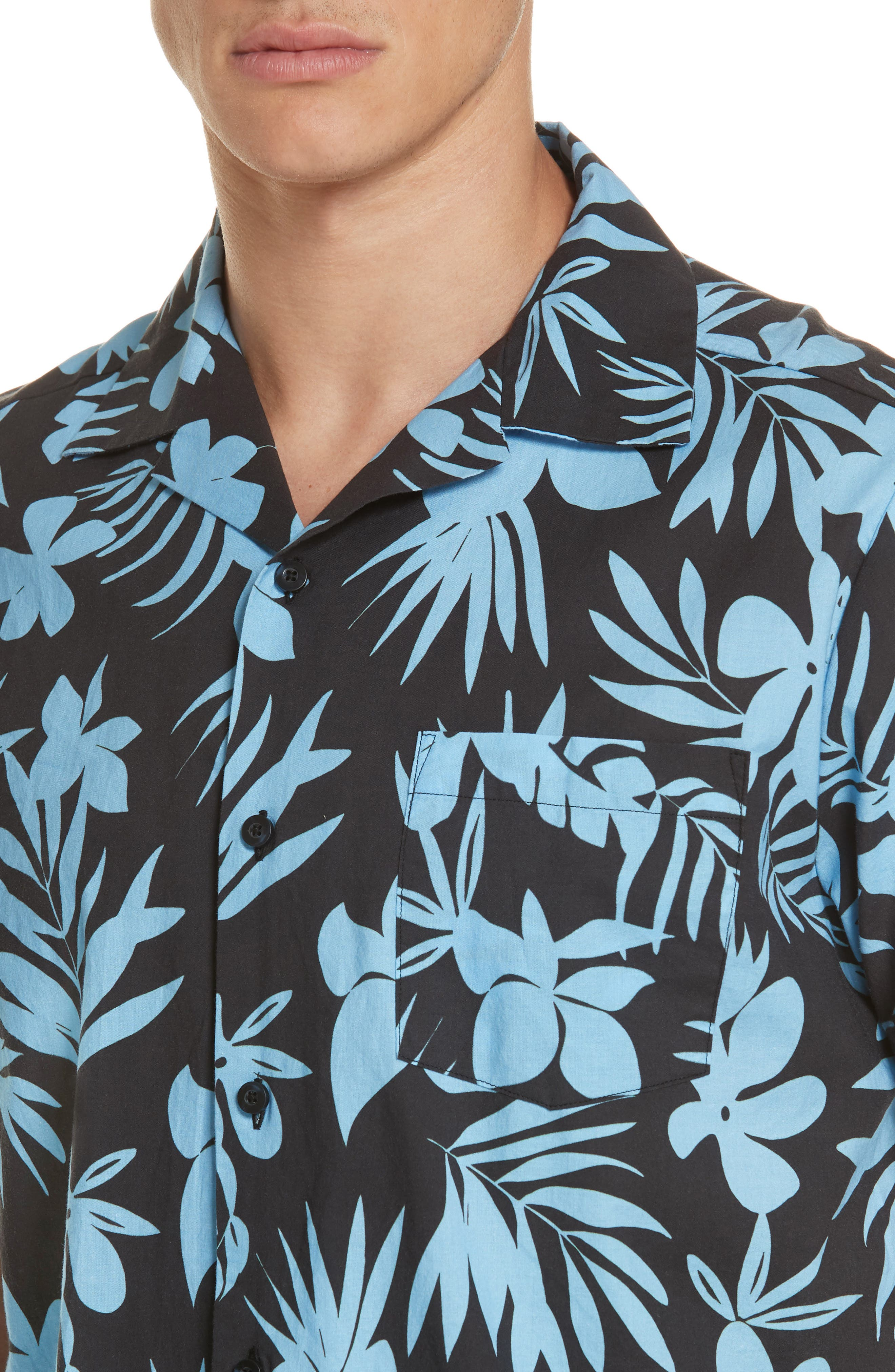 ONIA, Hibiscus Print Camp Shirt, Alternate thumbnail 2, color, BLACK