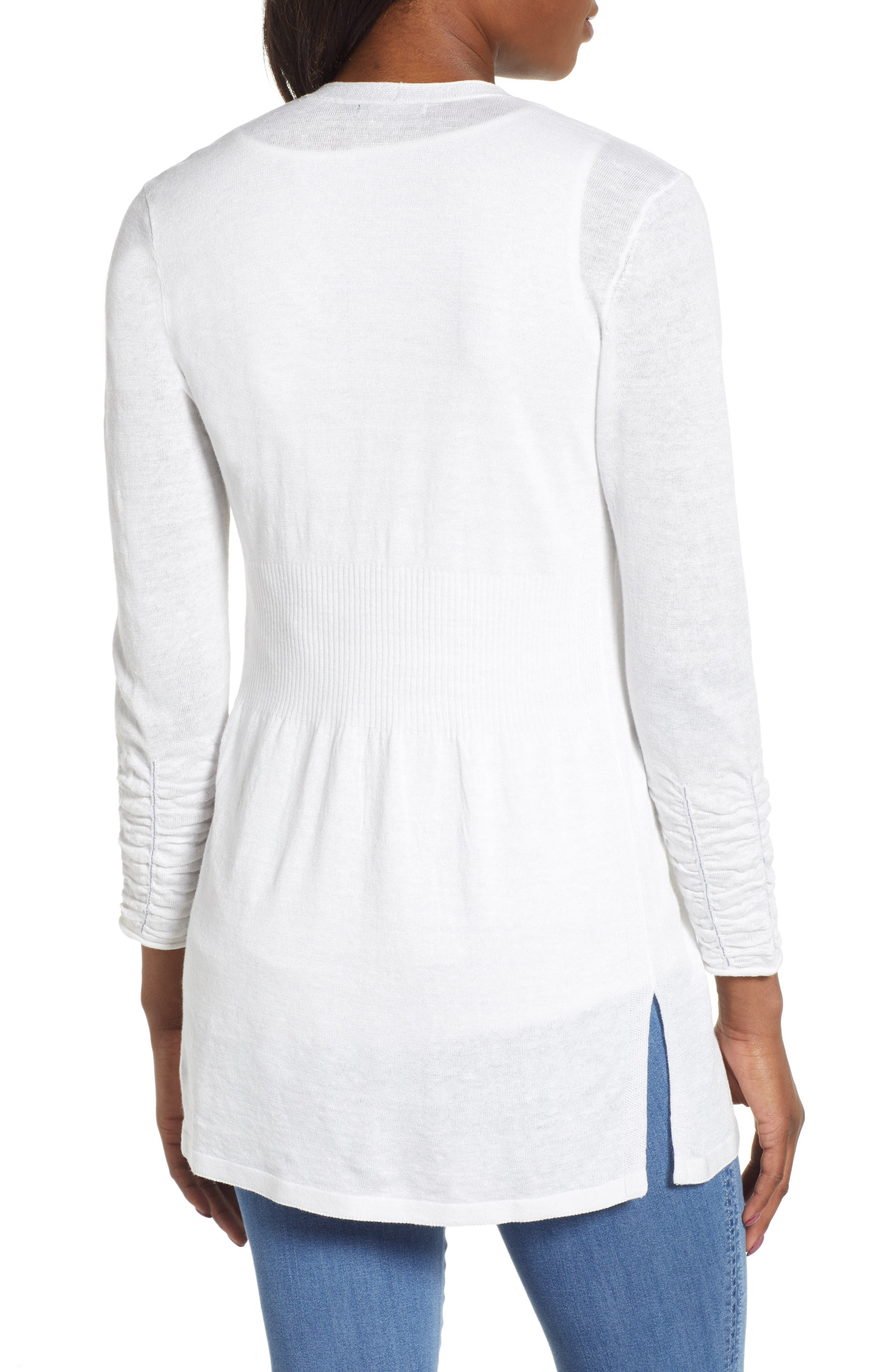 NIC+ZOE, Ruched Sleeve Cardigan, Alternate thumbnail 2, color, PAPER WHITE