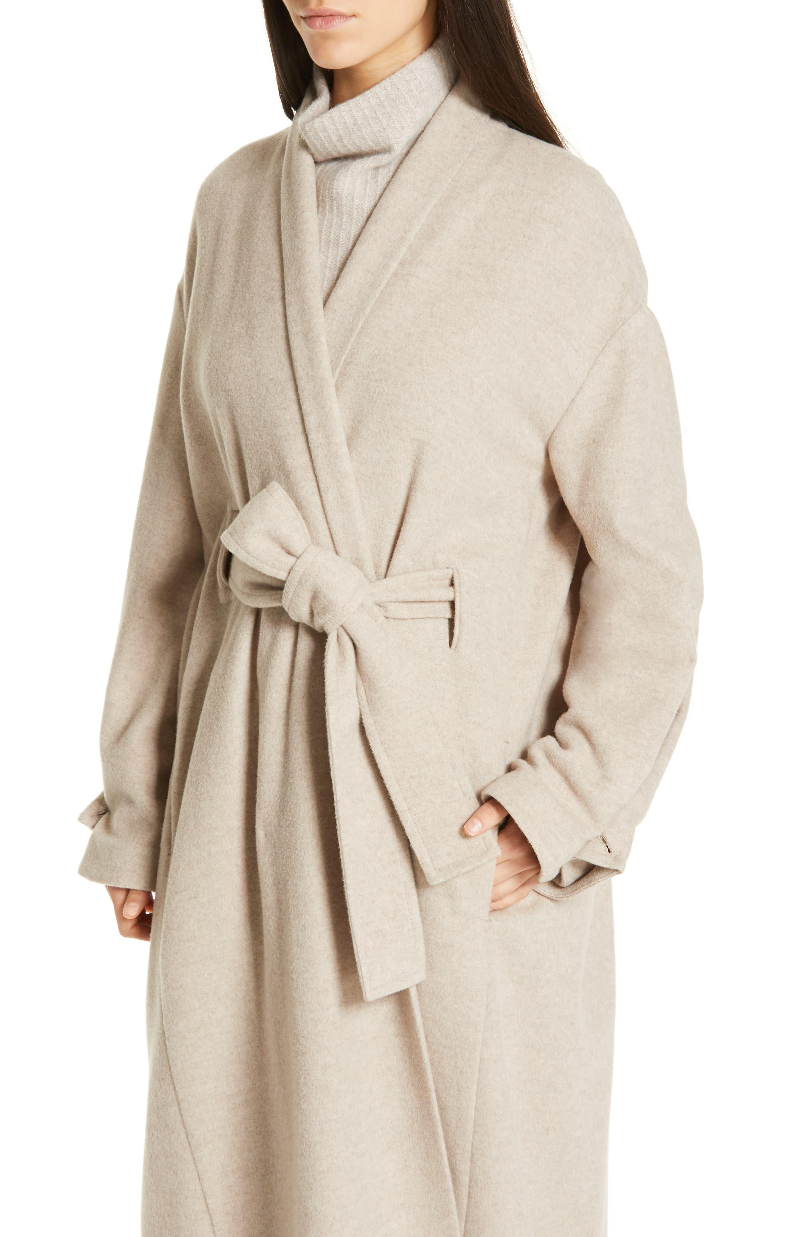 VINCE, Wool Blend Wrap Coat, Alternate thumbnail 5, color, H SHALE