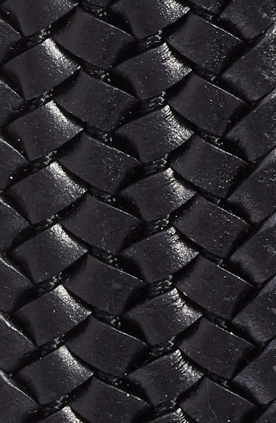 TORINO, Woven Leather Belt, Alternate thumbnail 2, color, BLACK