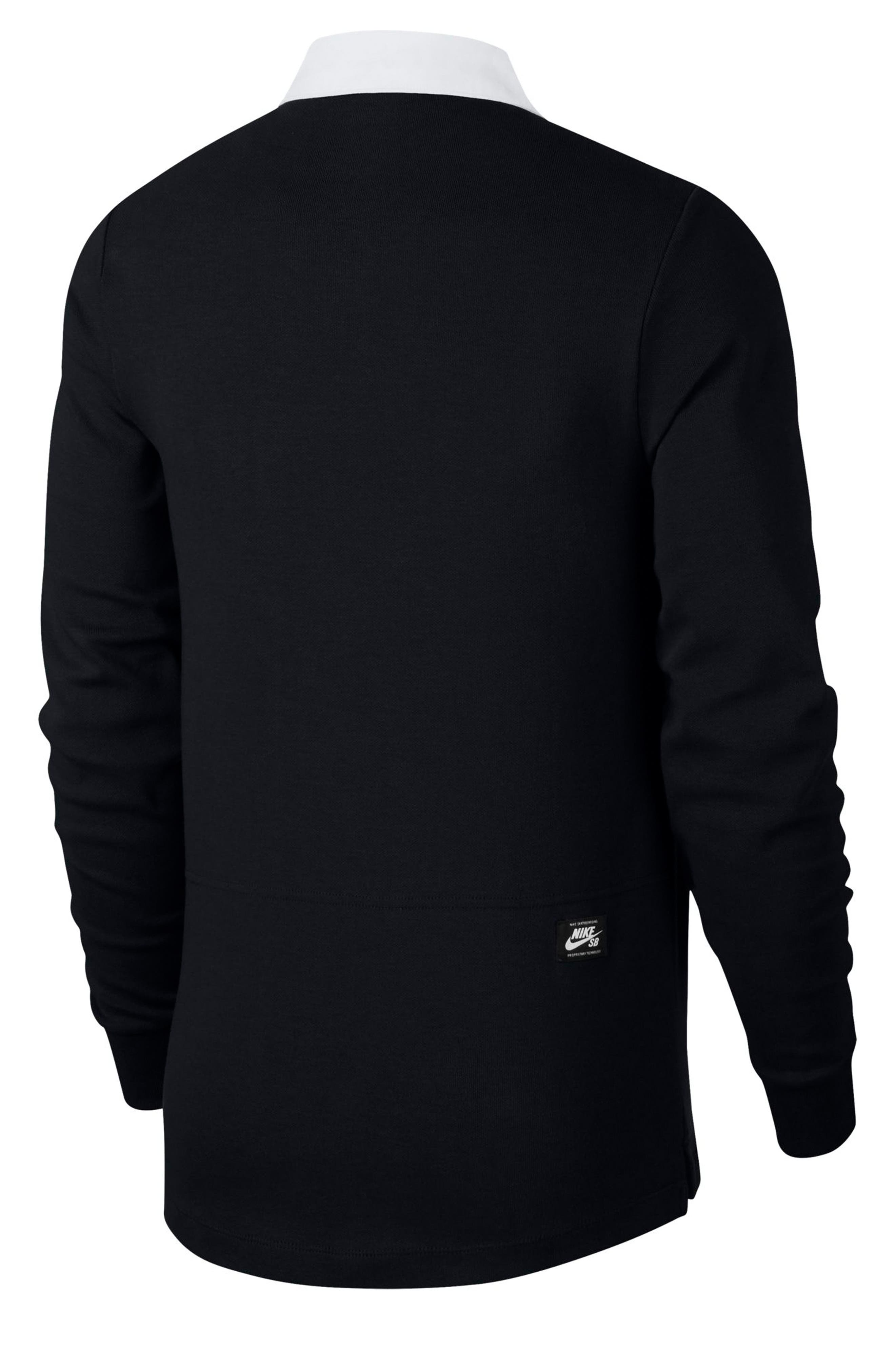 NIKE SB, Nike Dry SB Rugby Polo, Alternate thumbnail 8, color, BLACK/BLACK/BLACK/WHITE
