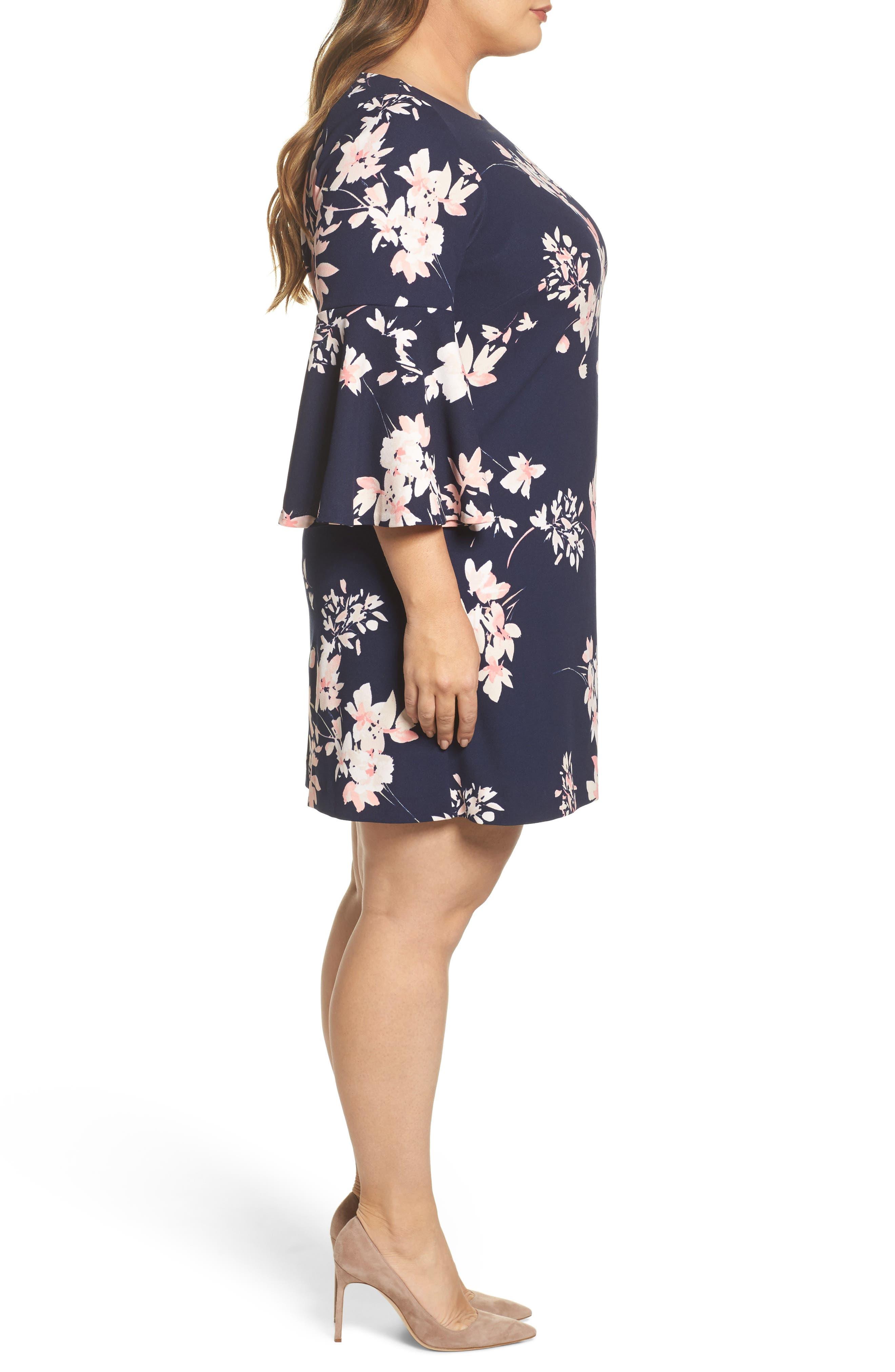 ELIZA J, Floral Print Bell Sleeve Shift Dress, Alternate thumbnail 3, color, NAVY/ PINK